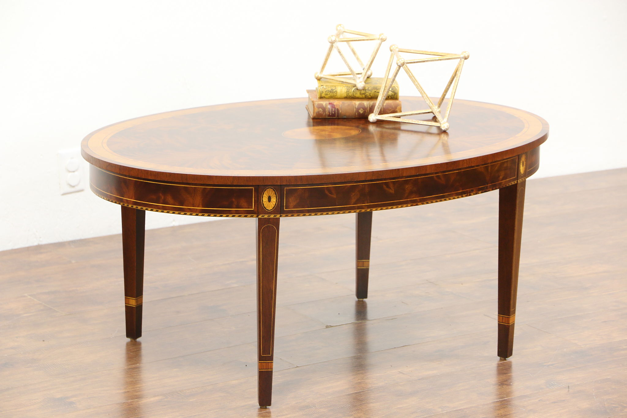 Sold Oval Vintage Mahogany Banded Sunburst Marquetry Coffee Table Signed Stickley Harp