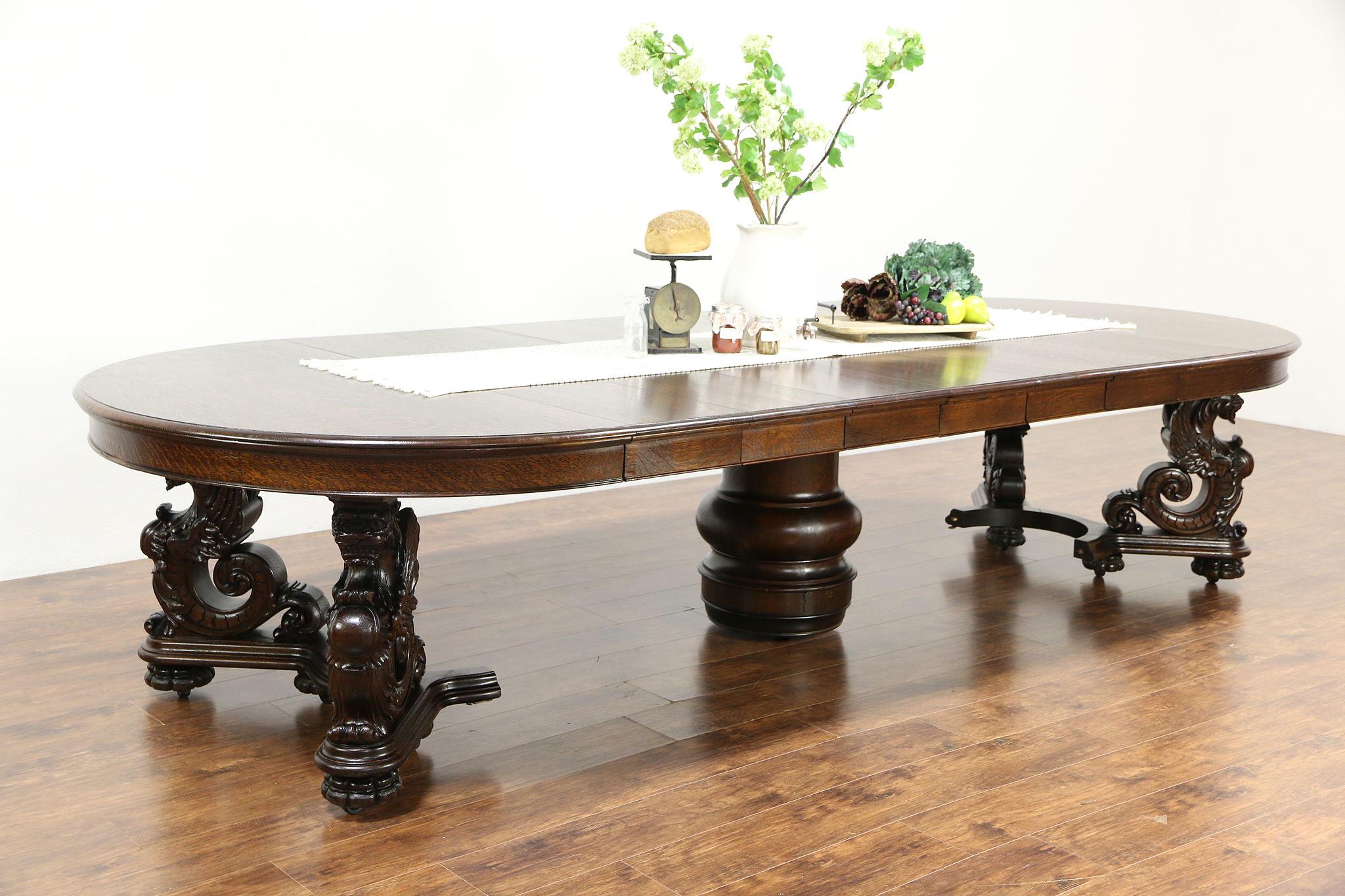 Oak Griffin Carved 1900 Antique Dining Table, 7 Leaves, Extends 12u0027 Berkey U0026