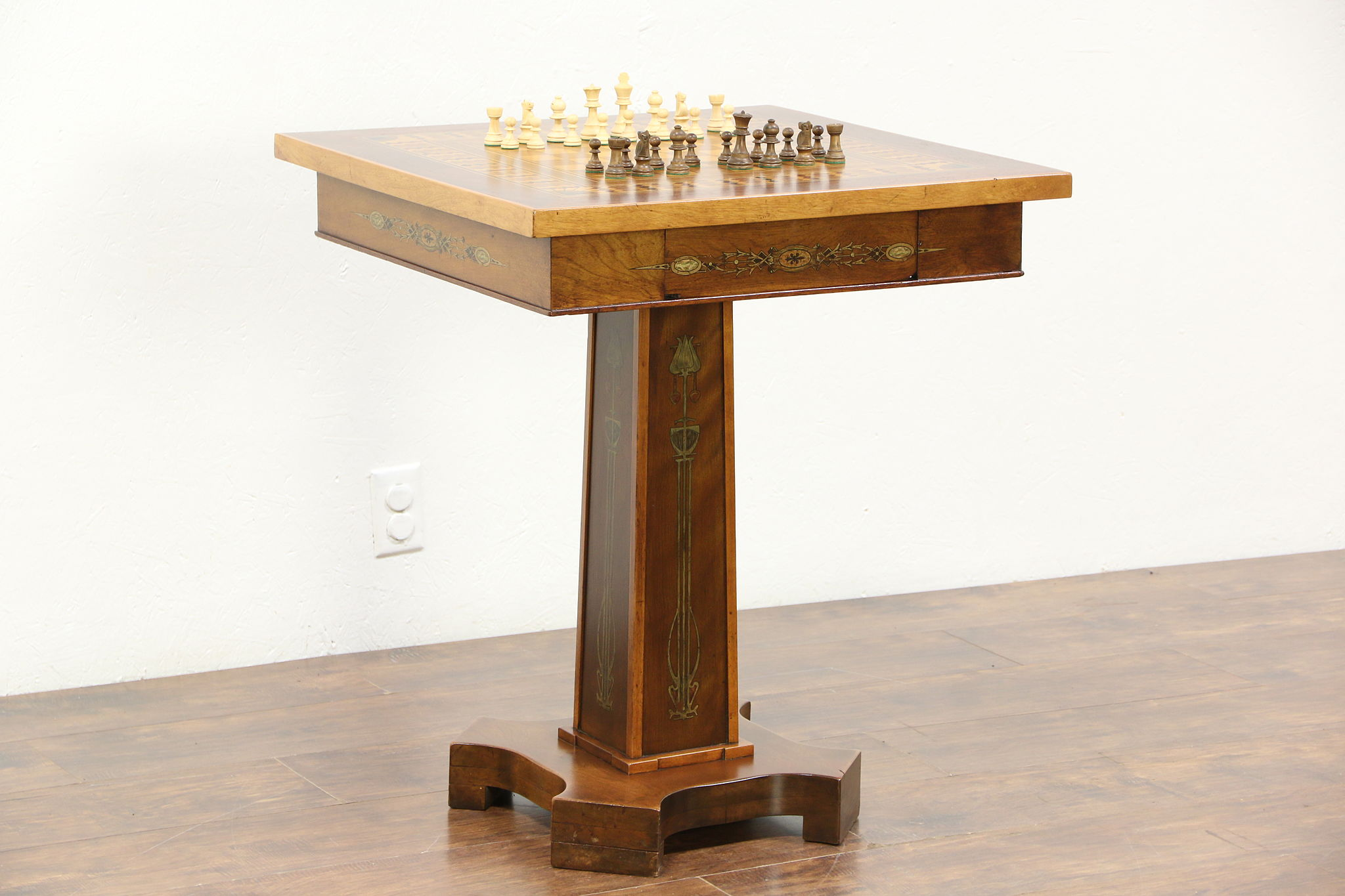 Parquetry Inlaid 1900 Antique Chess, Checker Game Table, Signed