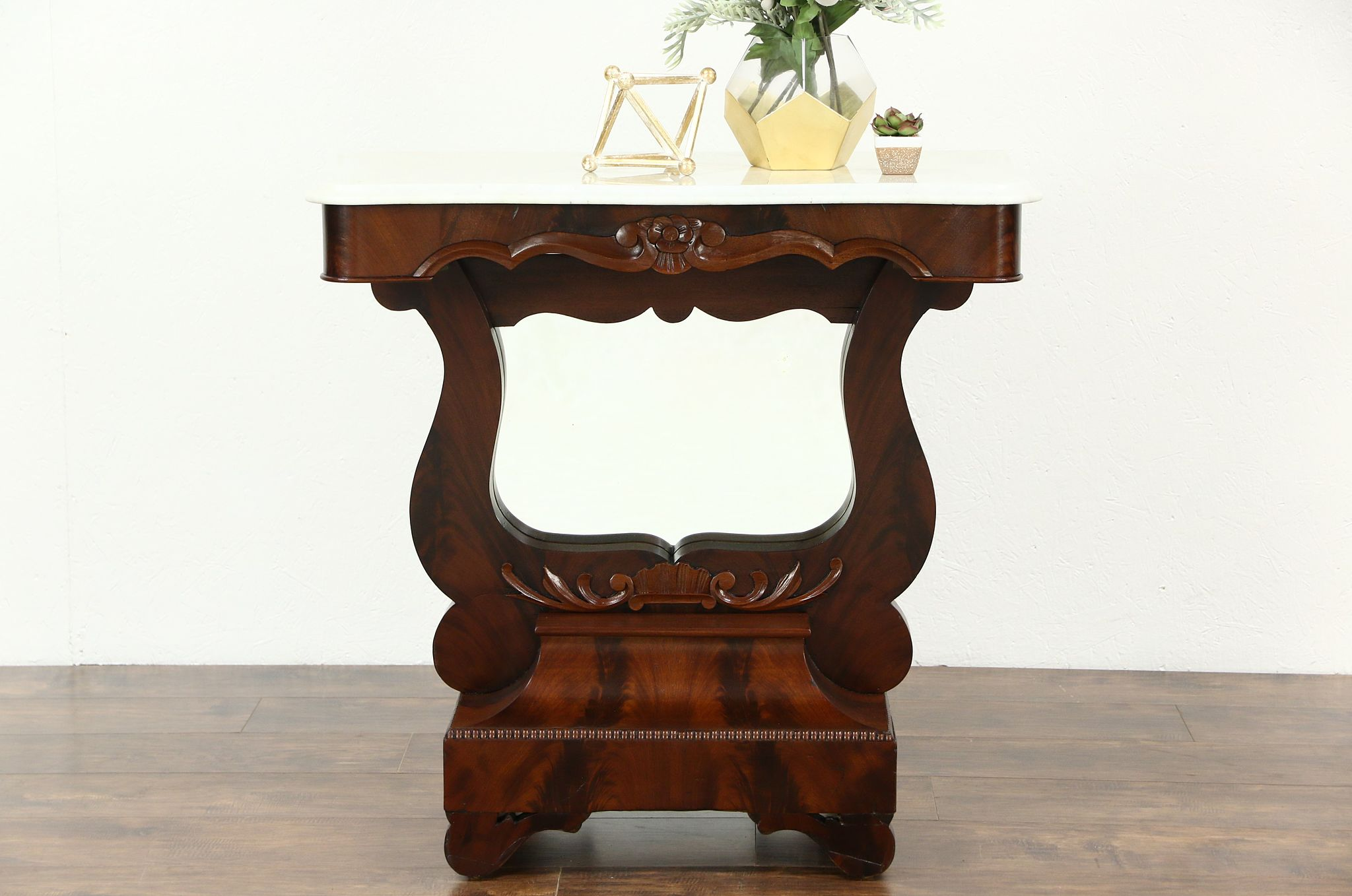 Delicieux Empire 1840 Antique Hall Console Table Or Petticoat Mirror, Mahogany And  Marble