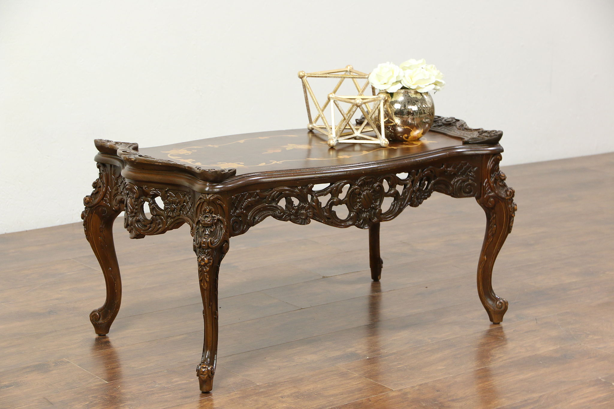 Carved Vintage Coffee Table Inlaid Marquetry Amp Burl Top