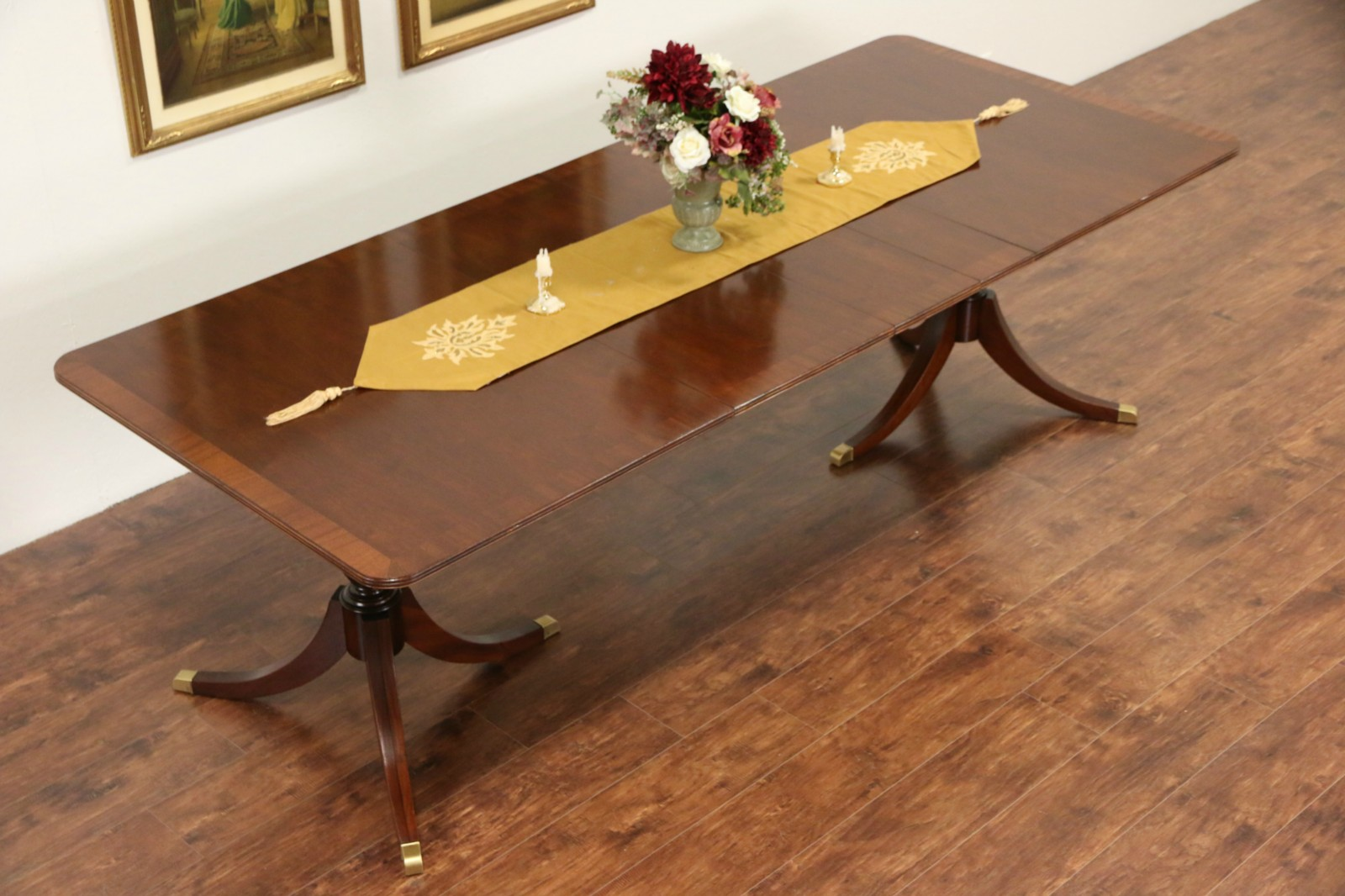 Banded Mahogany Vintage Double Pedestal Dining Table Leaves