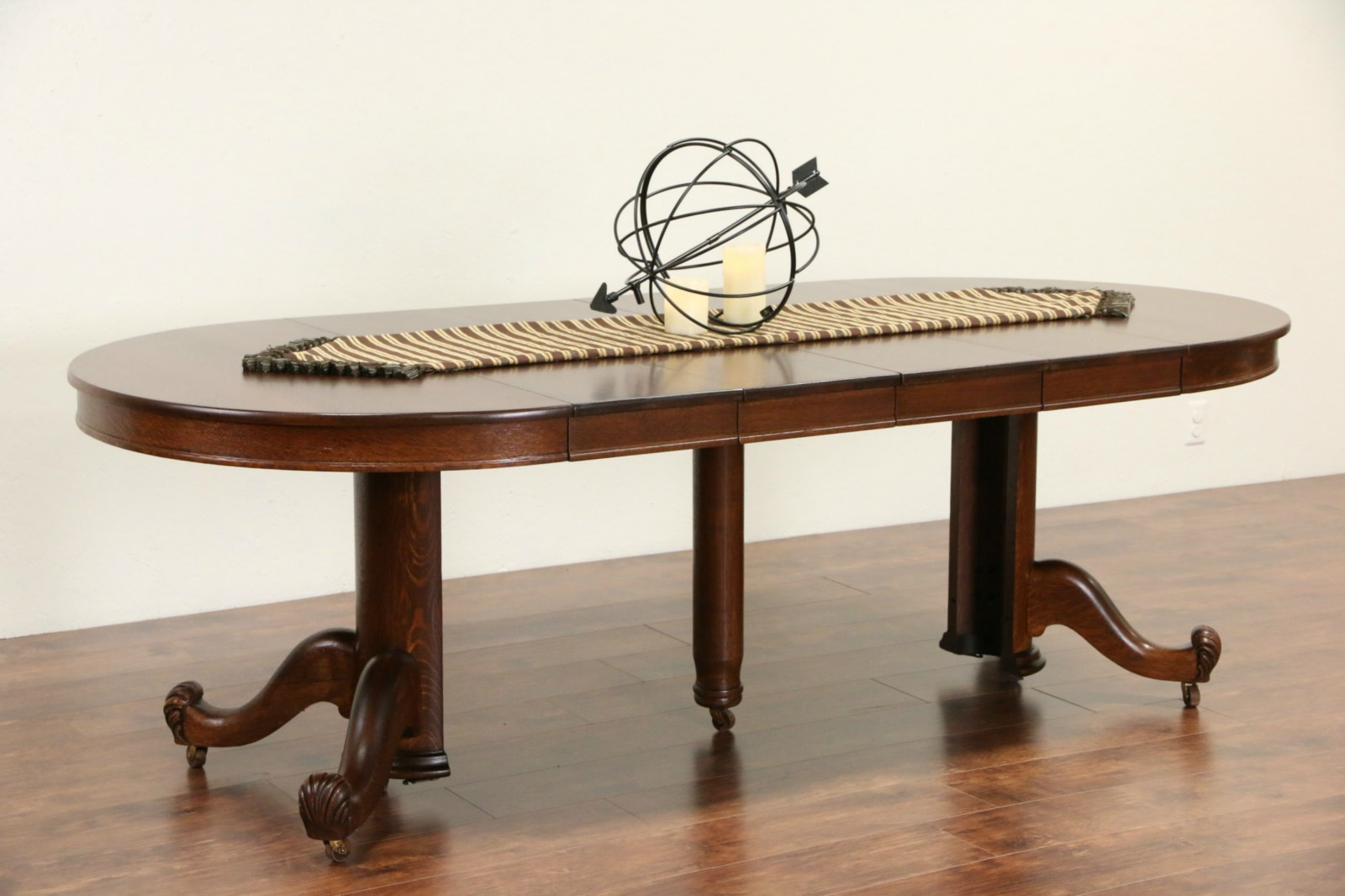 Sold oak 44 round 1900 antique dining table pedestal for 44 round dining table