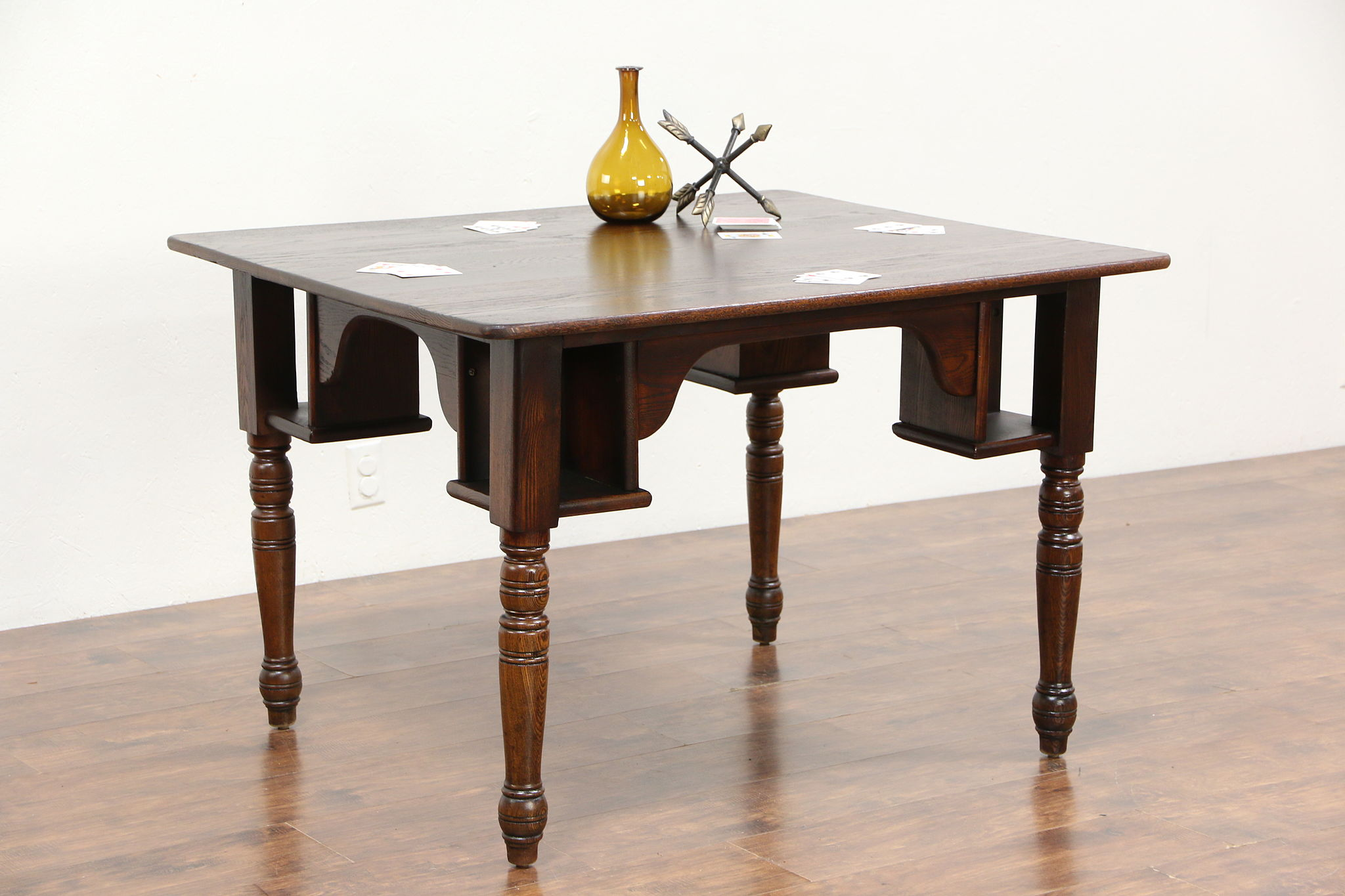 Oak Antique 1890 Pub, Tavern Or Saloon Game Table, ...
