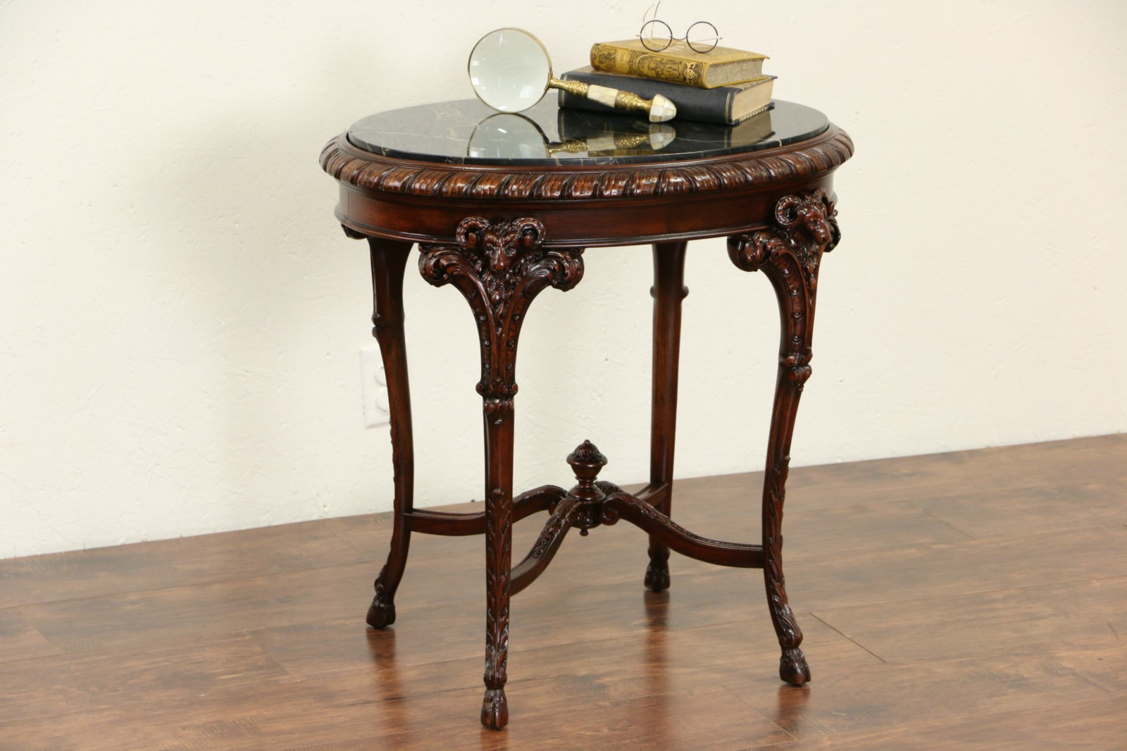 Marble Top Oval 1920 Antique Lamp Table, Carved Rams