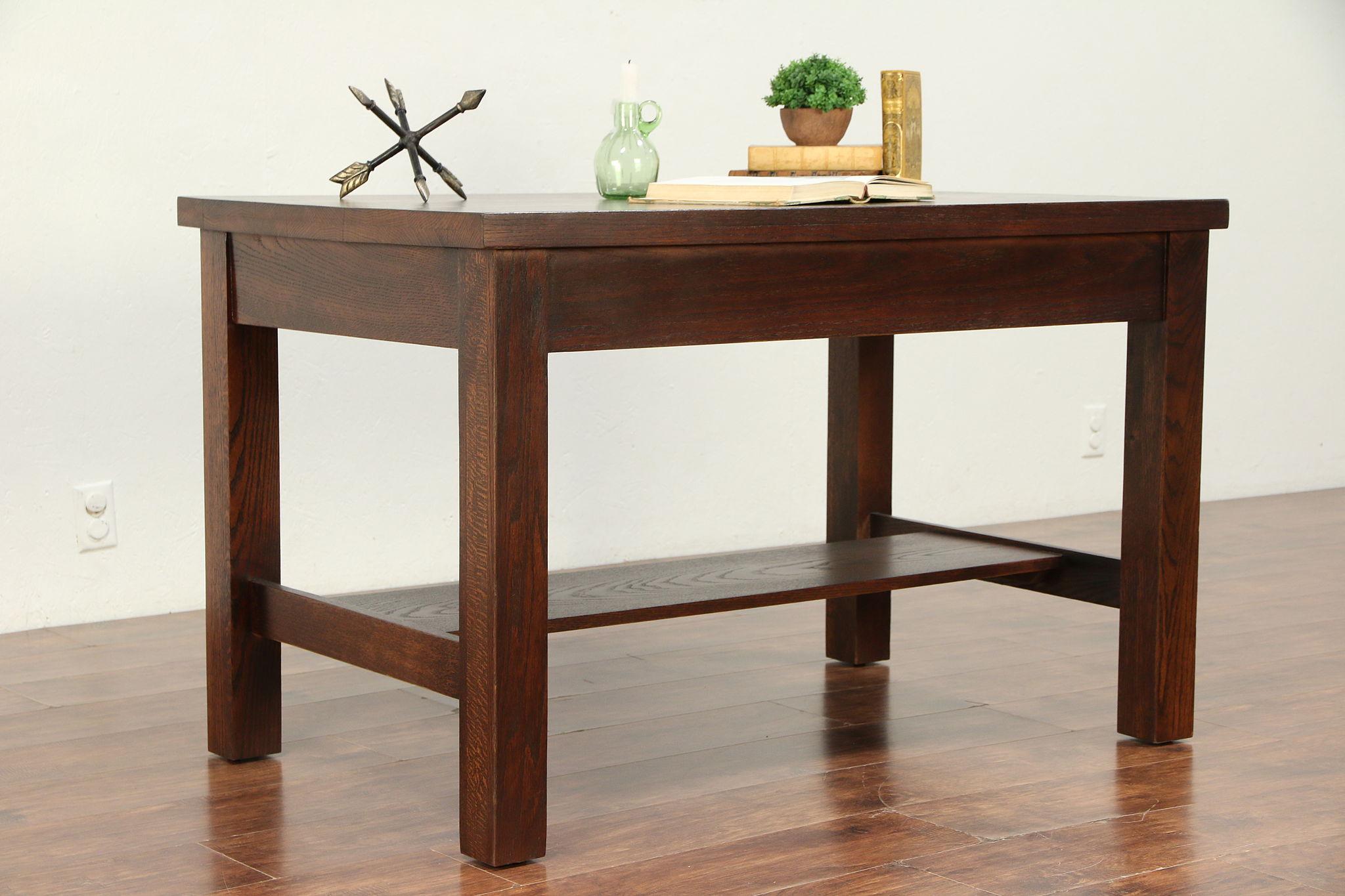 Arts U0026 Crafts Mission Oak Antique Craftsman Library Or Hall Table #29994  Photo