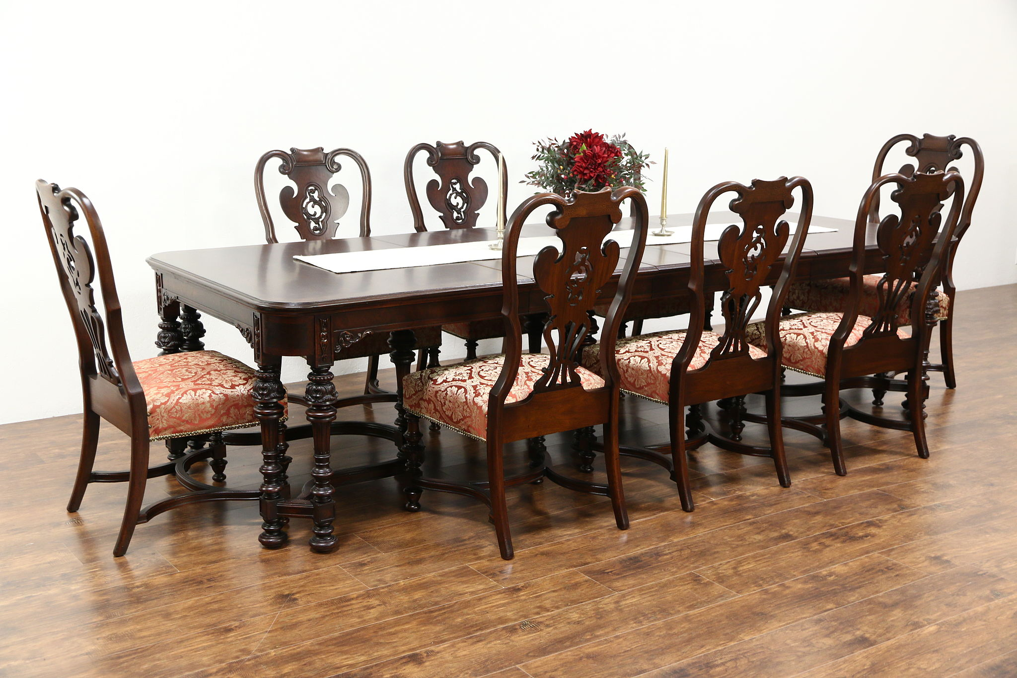 Carved Walnut U0026 Burl 1915 Antique Dining Set, Table U0026 8 Chairs Signed  Scholles