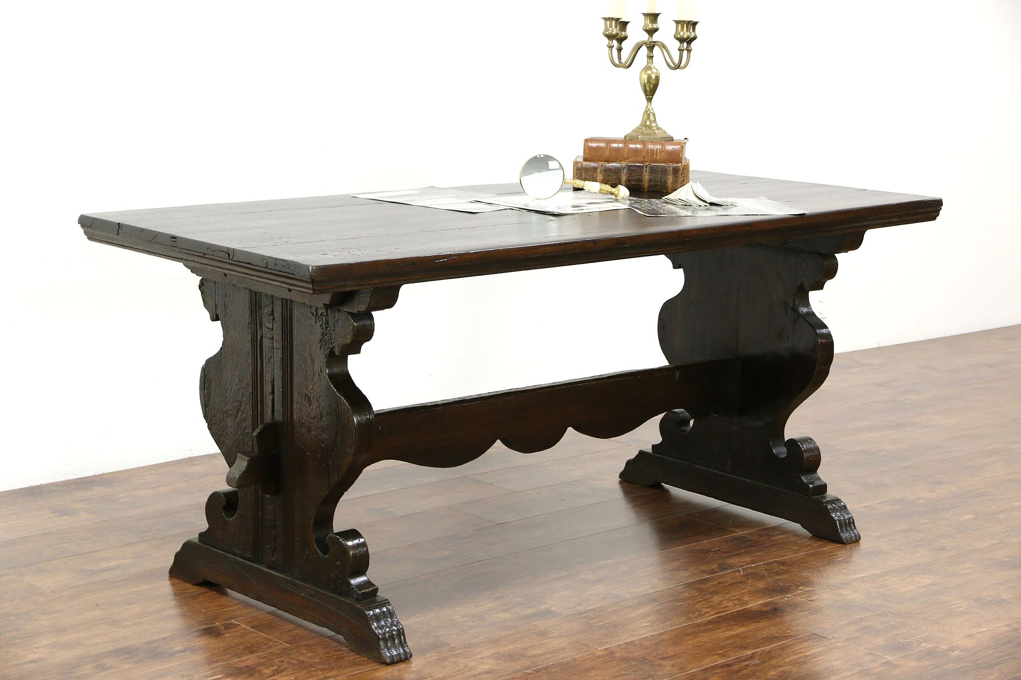 Antique Oak Trestle Dining Or Library