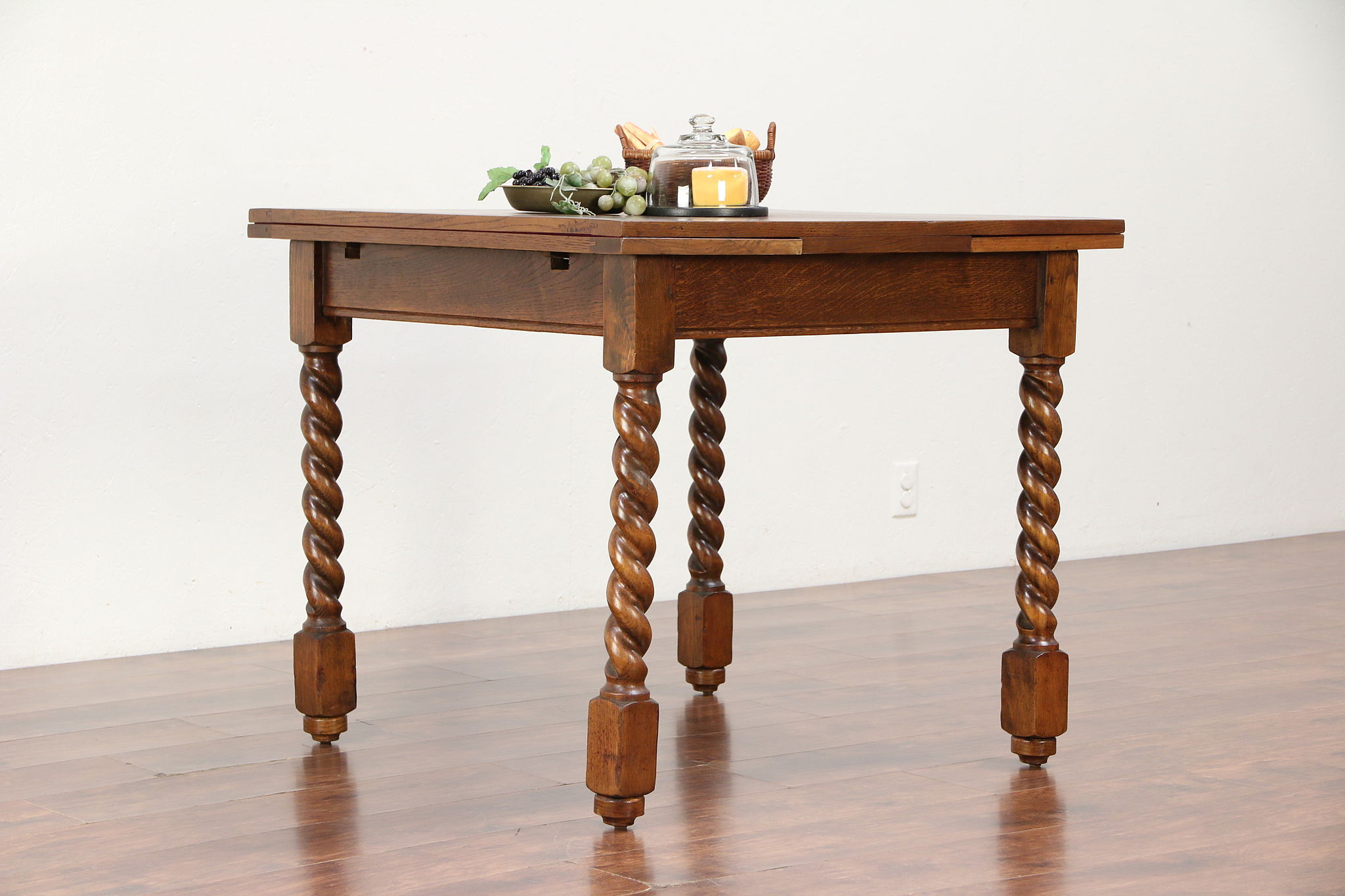 Oak Antique Kitchen, Dining or Game Table, Draw Leaves, Spiral Legs #30001