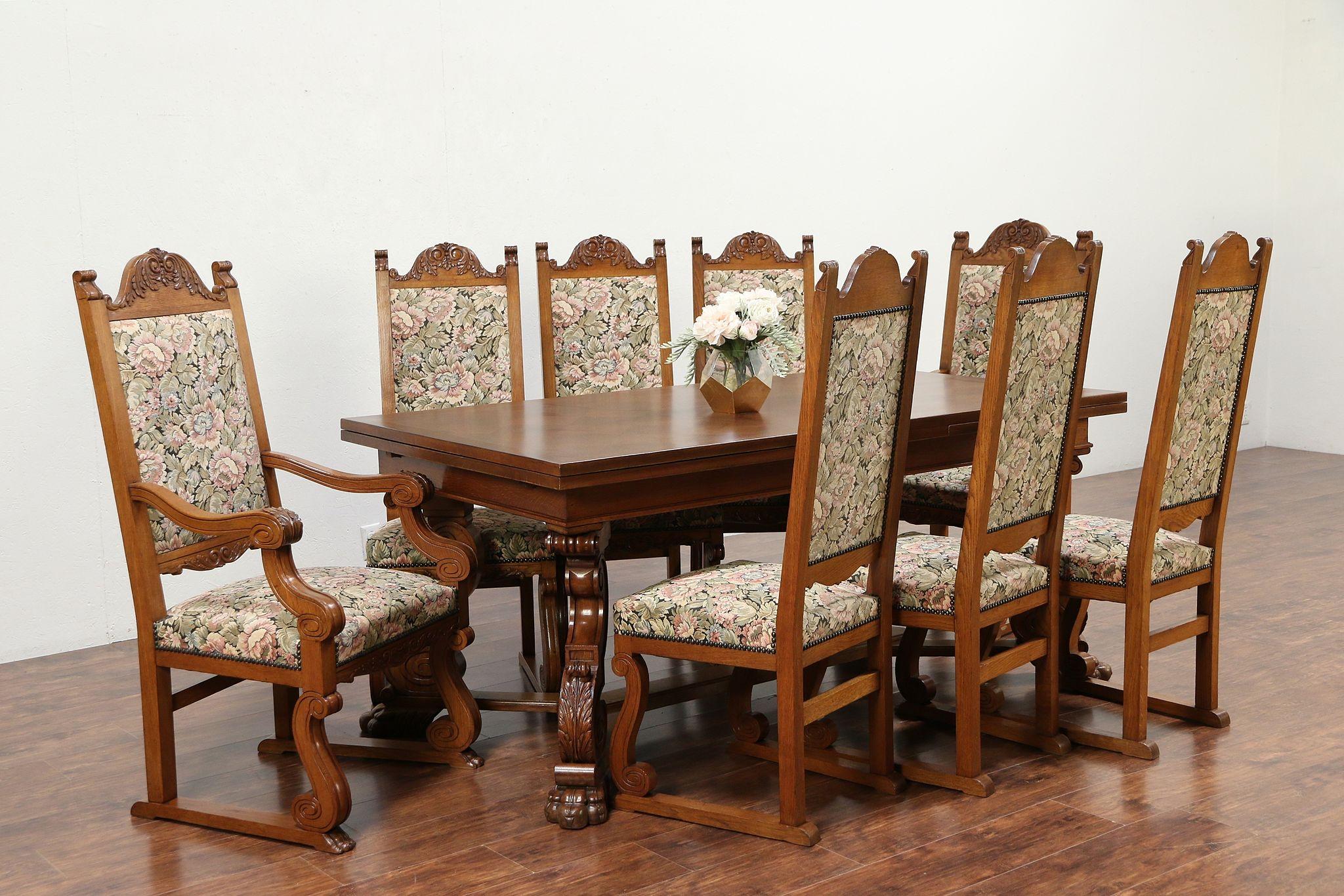 Oak Scandinavian Antique Dining Set