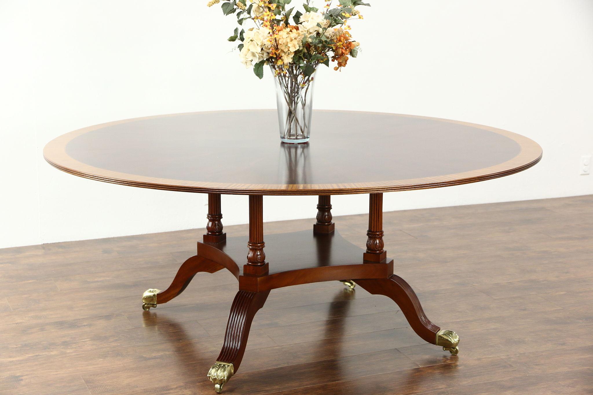 Round 6 Sunburst Banded Vintage Mahogany Dining Table Birdcage Pedestal