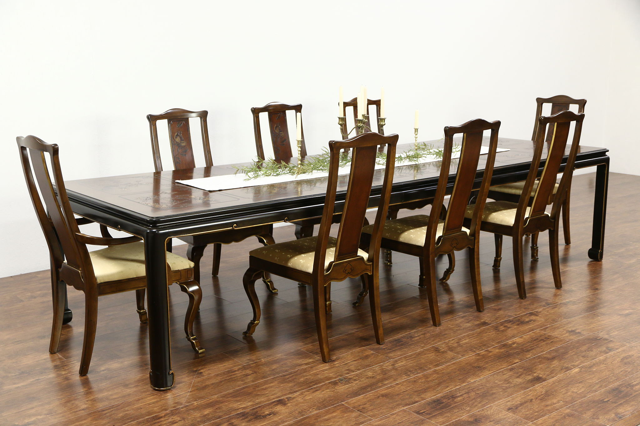 Drexel Heritage Connoisseur Chinese Motif Vintage Dining Set, Table, ...
