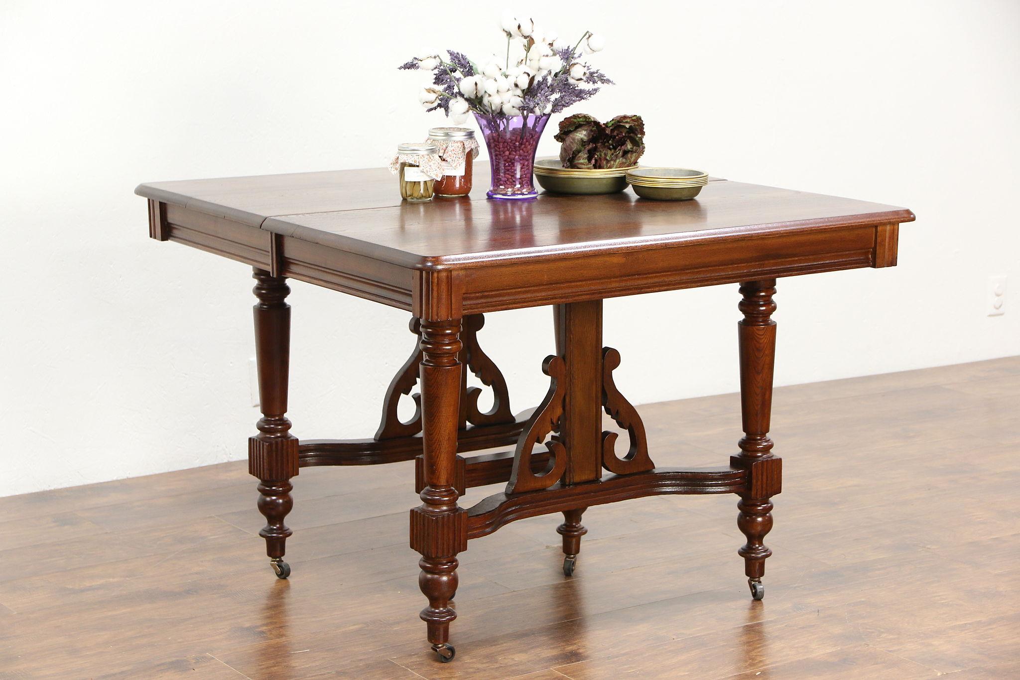 Victorian Eastlake Ash Oak Antique 1900 Square Dining Table 7 Leaves