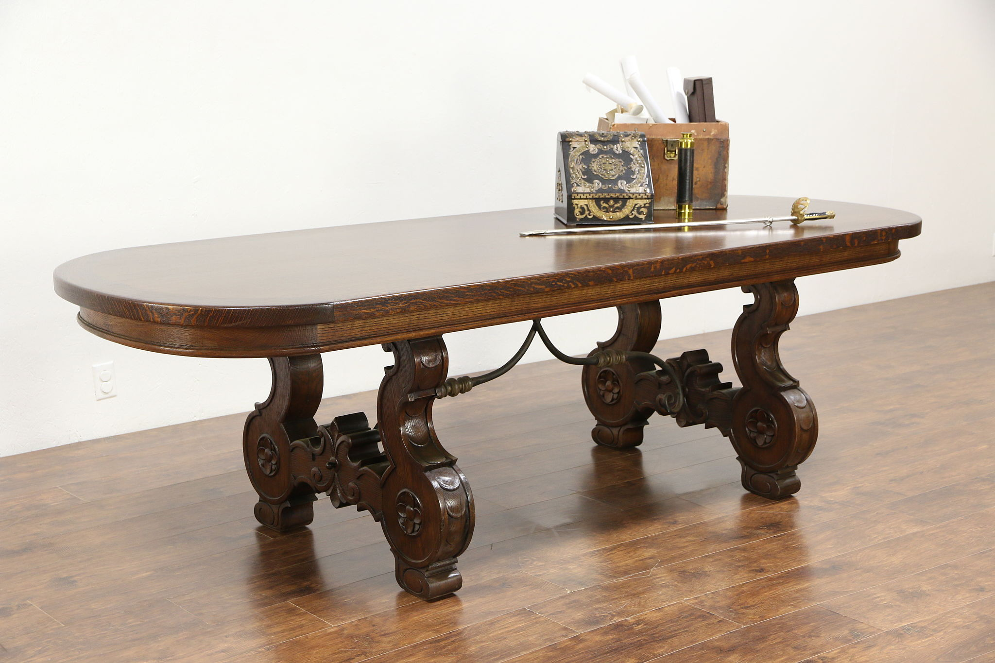 Oak Oval S Vintage Dining Or Conference Table Iron Trestle - Oval trestle dining table