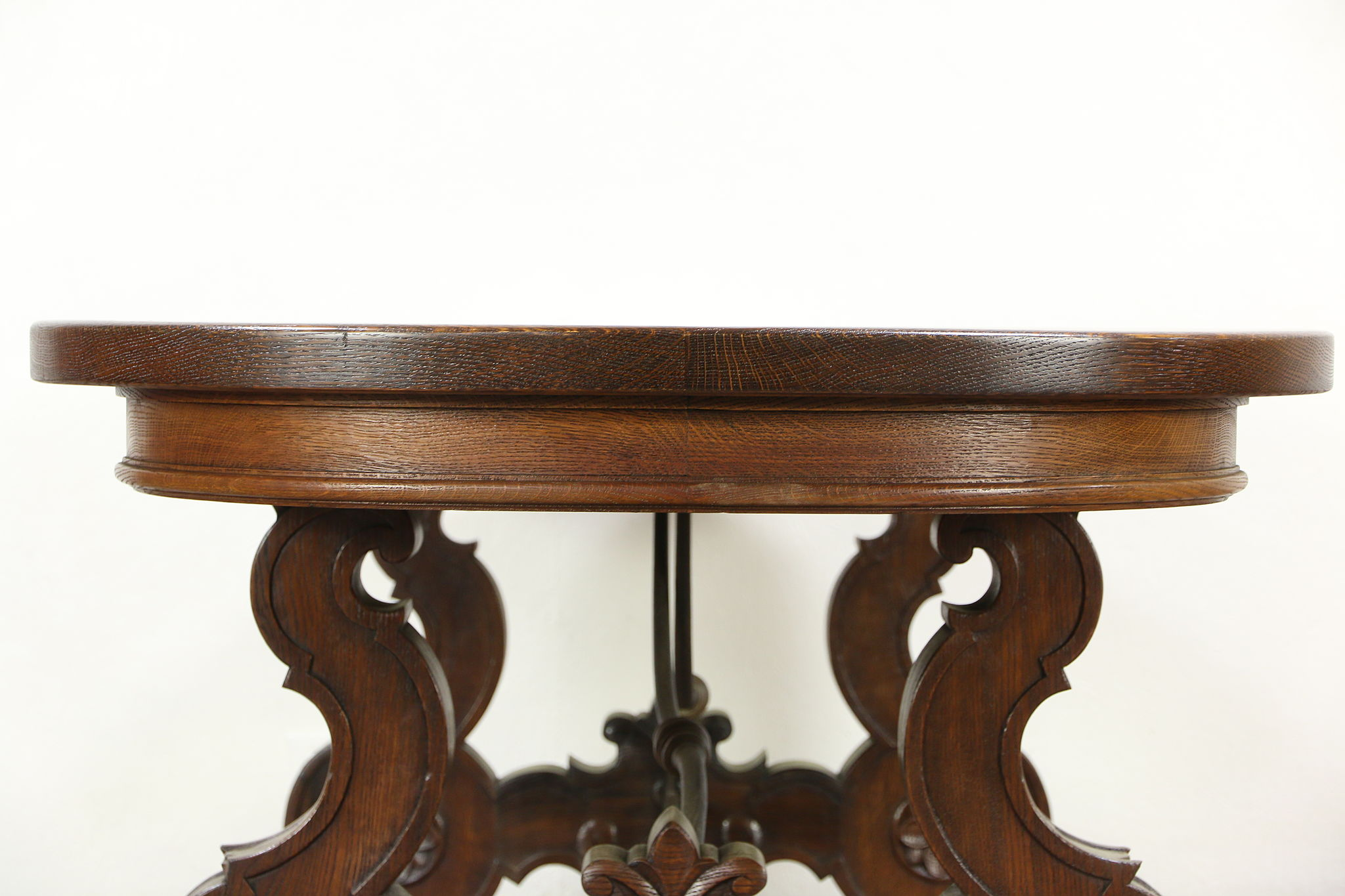 Oak Oval S Vintage Dining Or Conference Table Iron Trestle - Ebay conference table