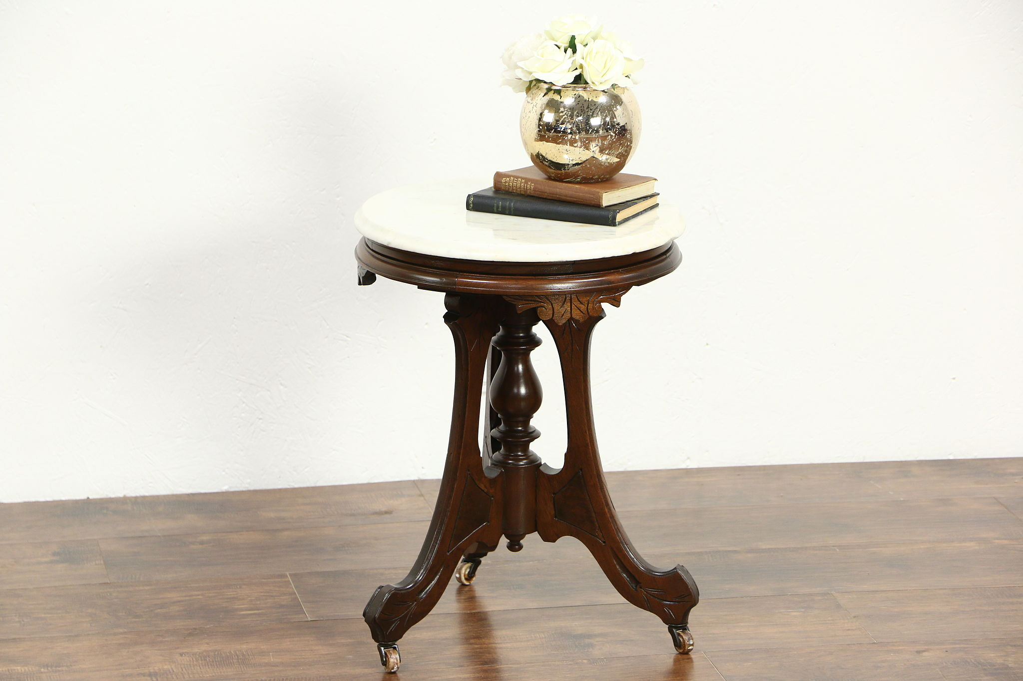 Picture of: Sold Victorian 1880 S Antique Round Chairside Table Or Pedestal Marble Top Harp Gallery Antiques Furniture