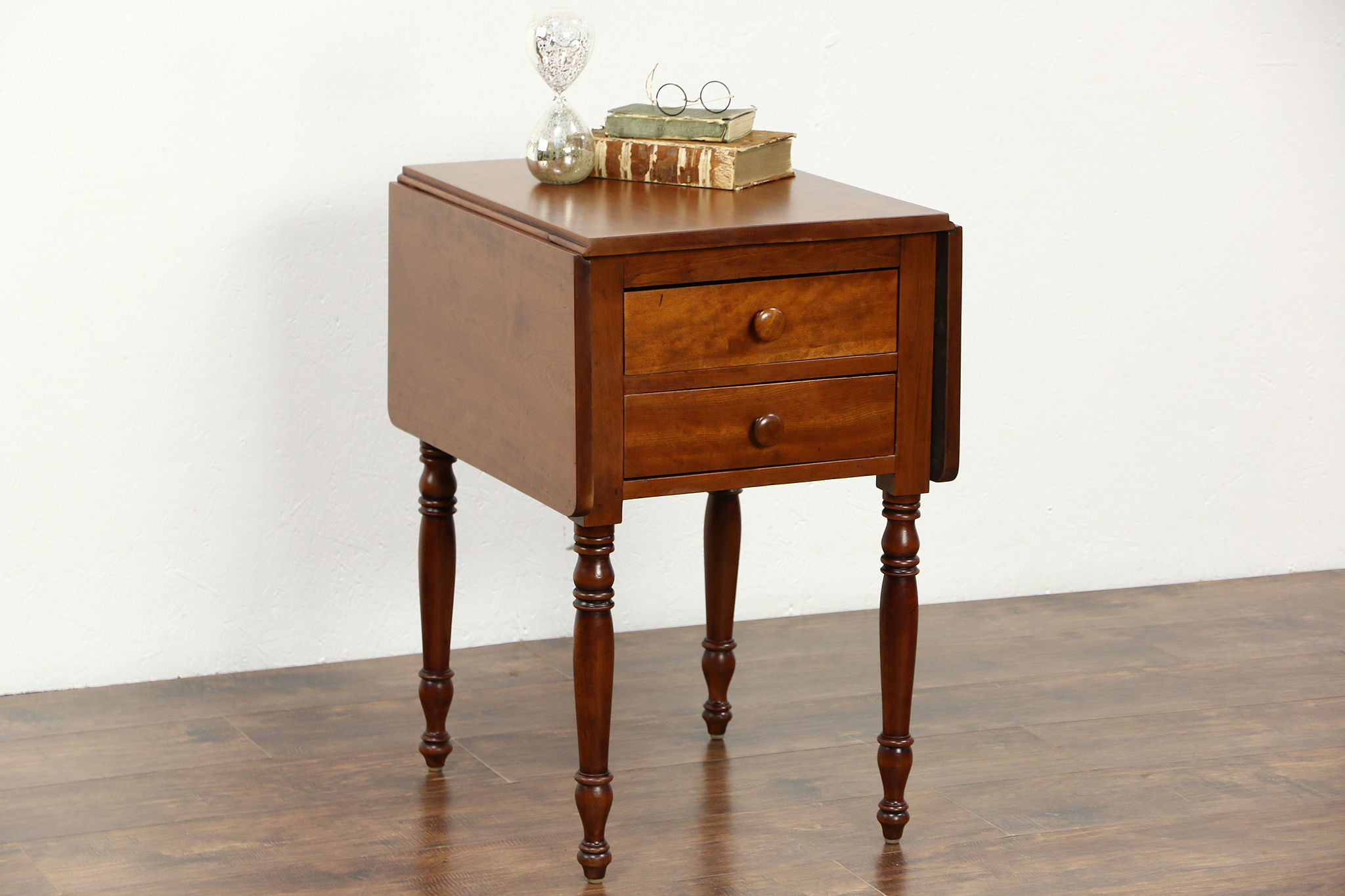 Cherry Dropleaf 1830 S Antique Pembroke Lamp Table Or Nightstand