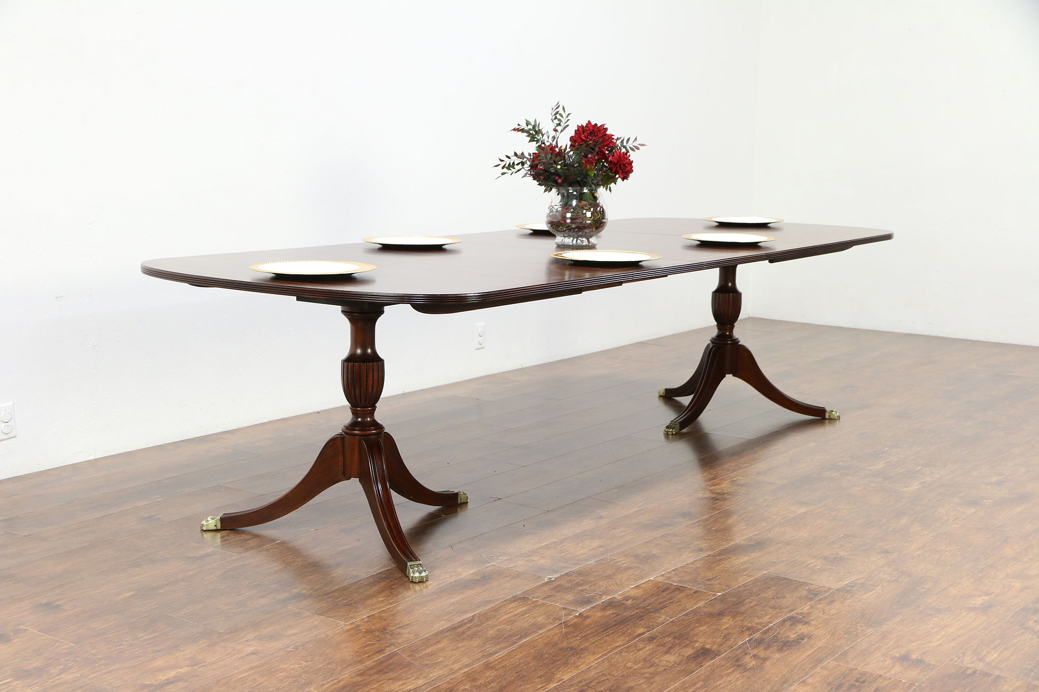 Sold Traditional Banded Mahogany 10 Dining Table 3 Leaves Henkel Harris 30160 Harp Gallery Antiques Furniture