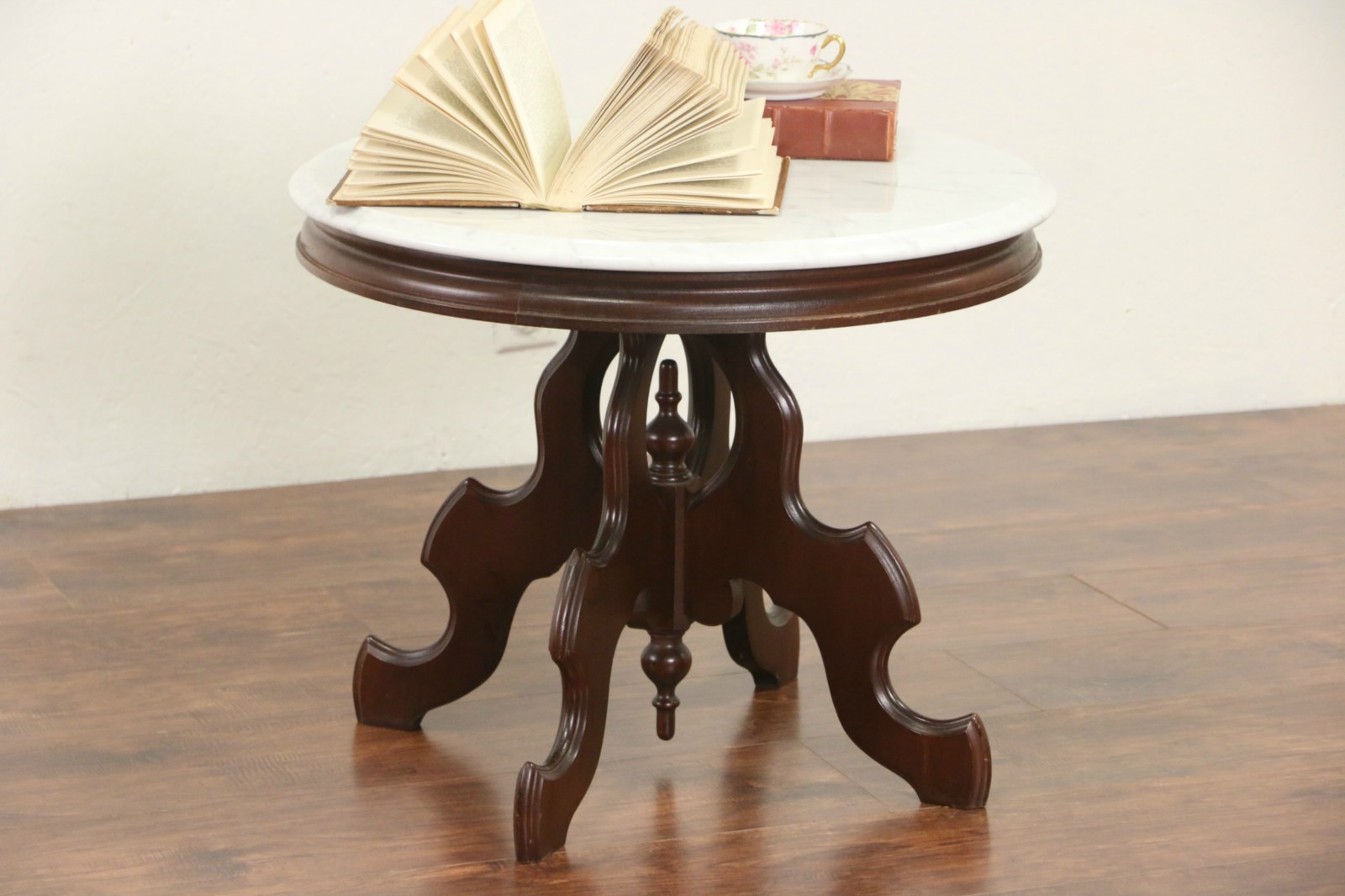 Victorian Style Round Mahogany Coffee Table, Marble Top