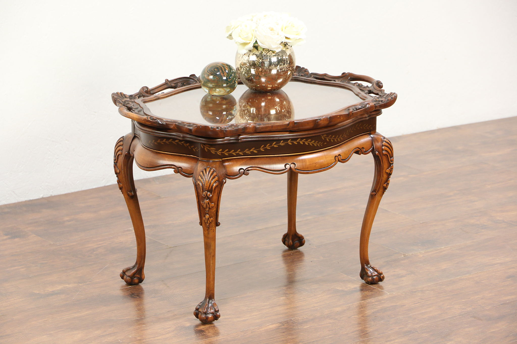 sold carved fruitwood 1930 39 s vintage coffee table glass tray top harp gallery. Black Bedroom Furniture Sets. Home Design Ideas