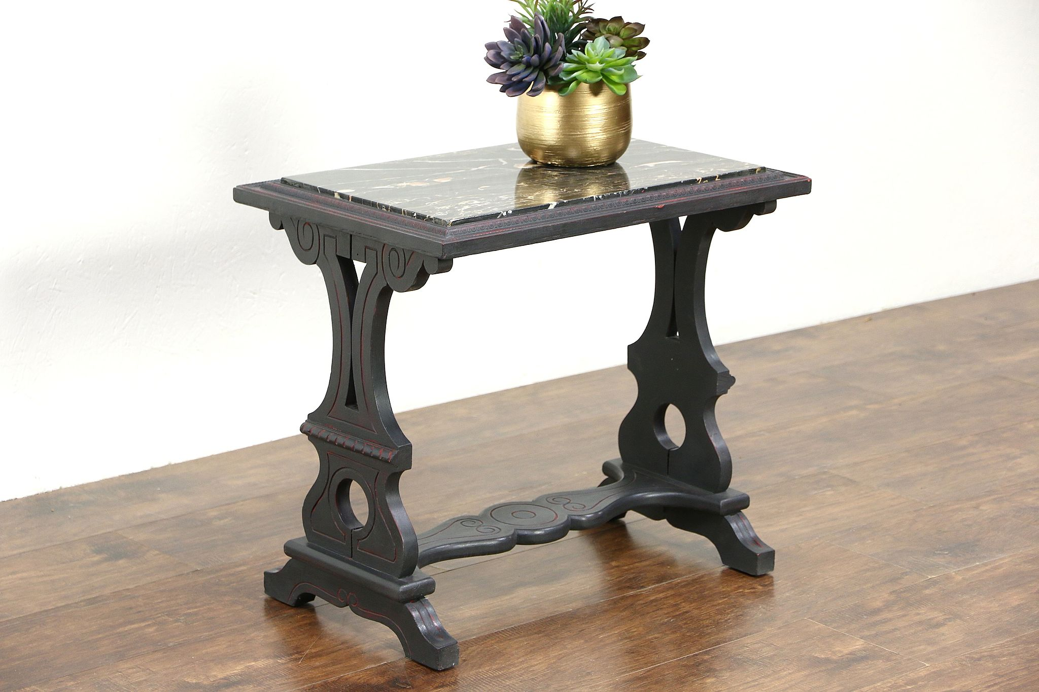 sold - chairside or small painted vintage coffee table, black