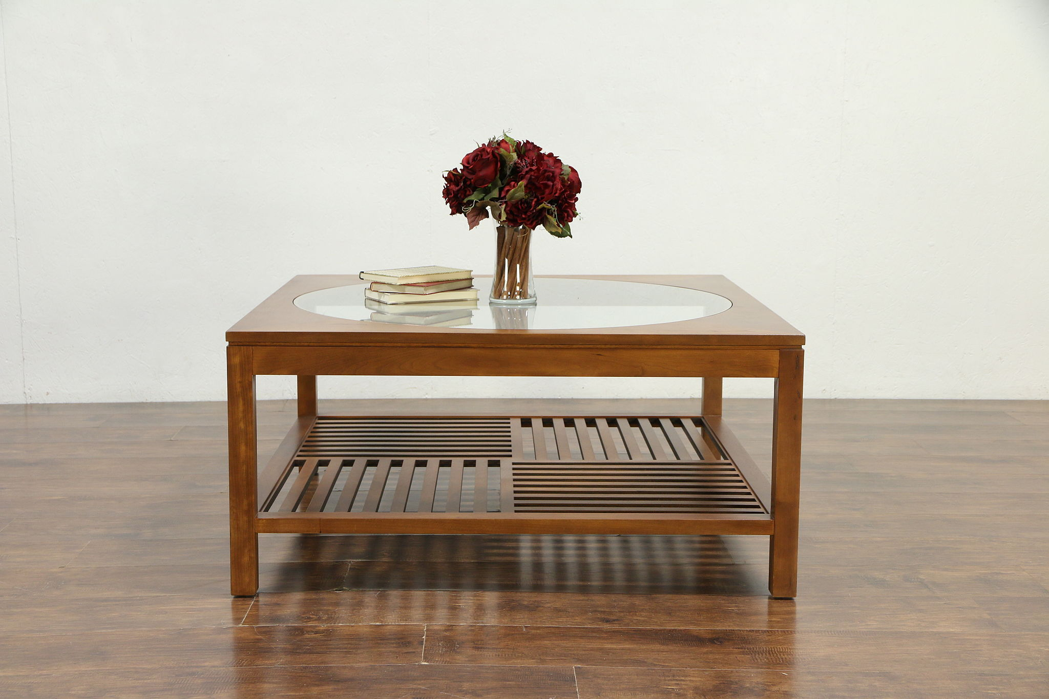 Sold Stickley Signed Cherry Glass Vintage Square Coffee Table