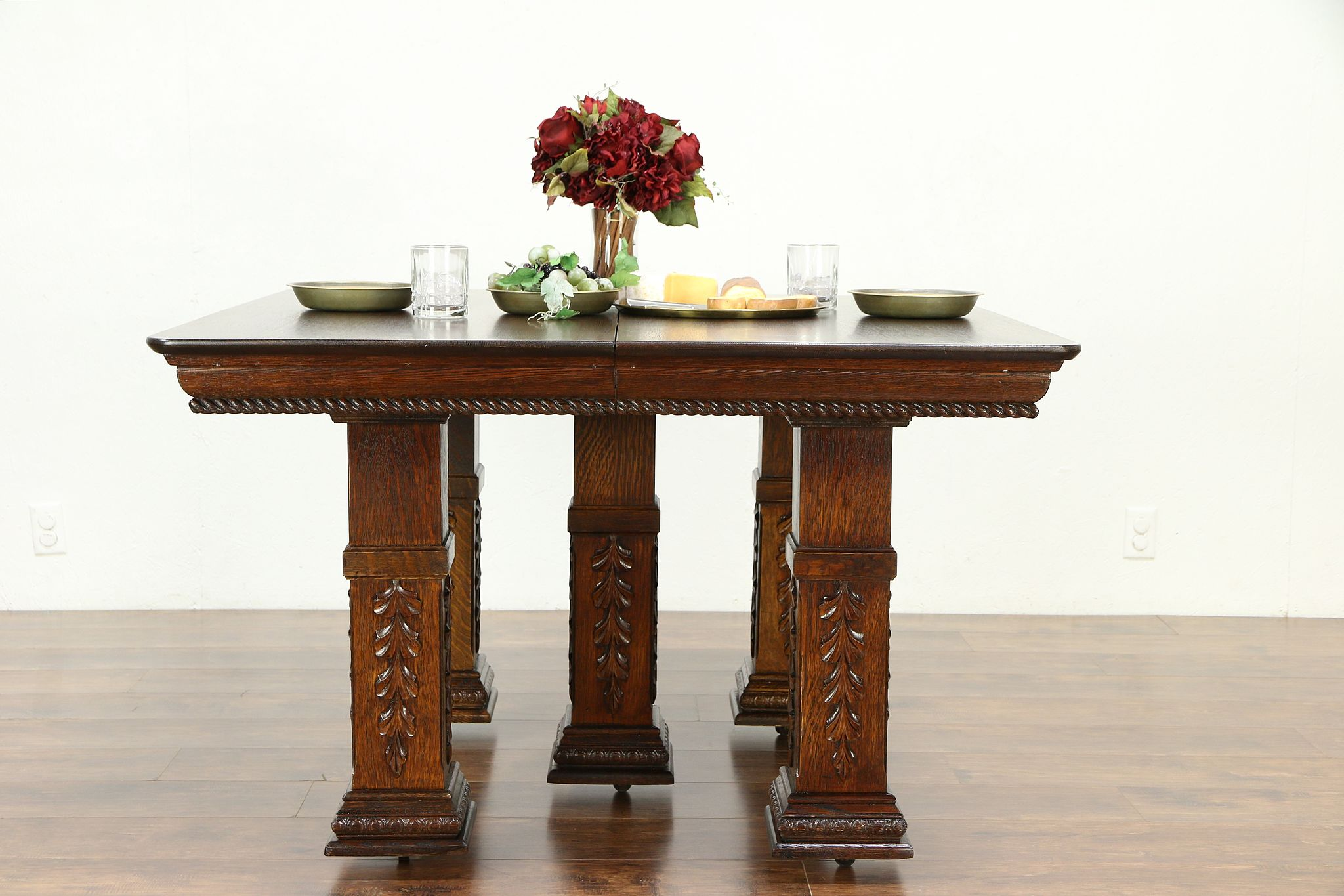 Sold Victorian Square Oak Antique Dining Table 6 Leaves Extends 10 30096 Harp Gallery