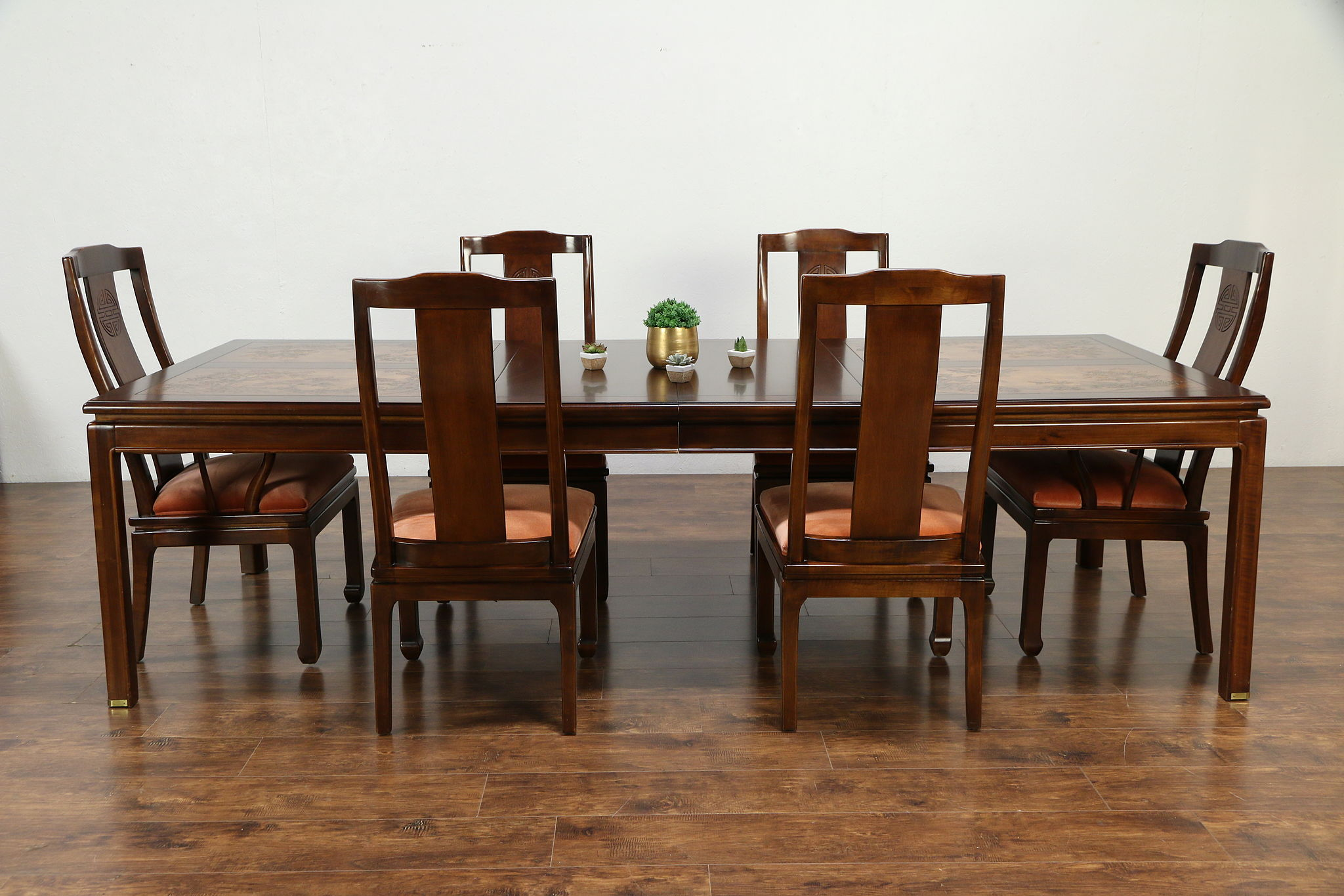 Chinese Carved Vintage Dining Set, Table, 9 Leaves, 9 Chairs, Bernhardt  9