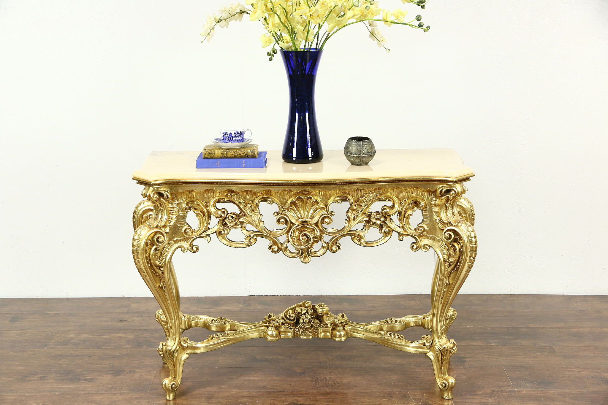 Italian Carved Hall Console Table, Marble Top, Burnished Gold Finish Photo