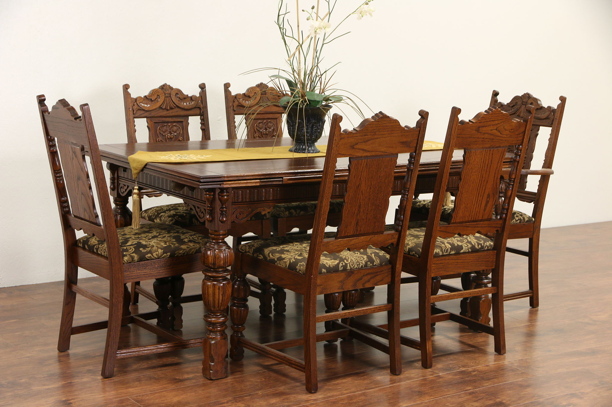 Sold english tudor 1920 antique carved oak dining set for Antique dining room furniture