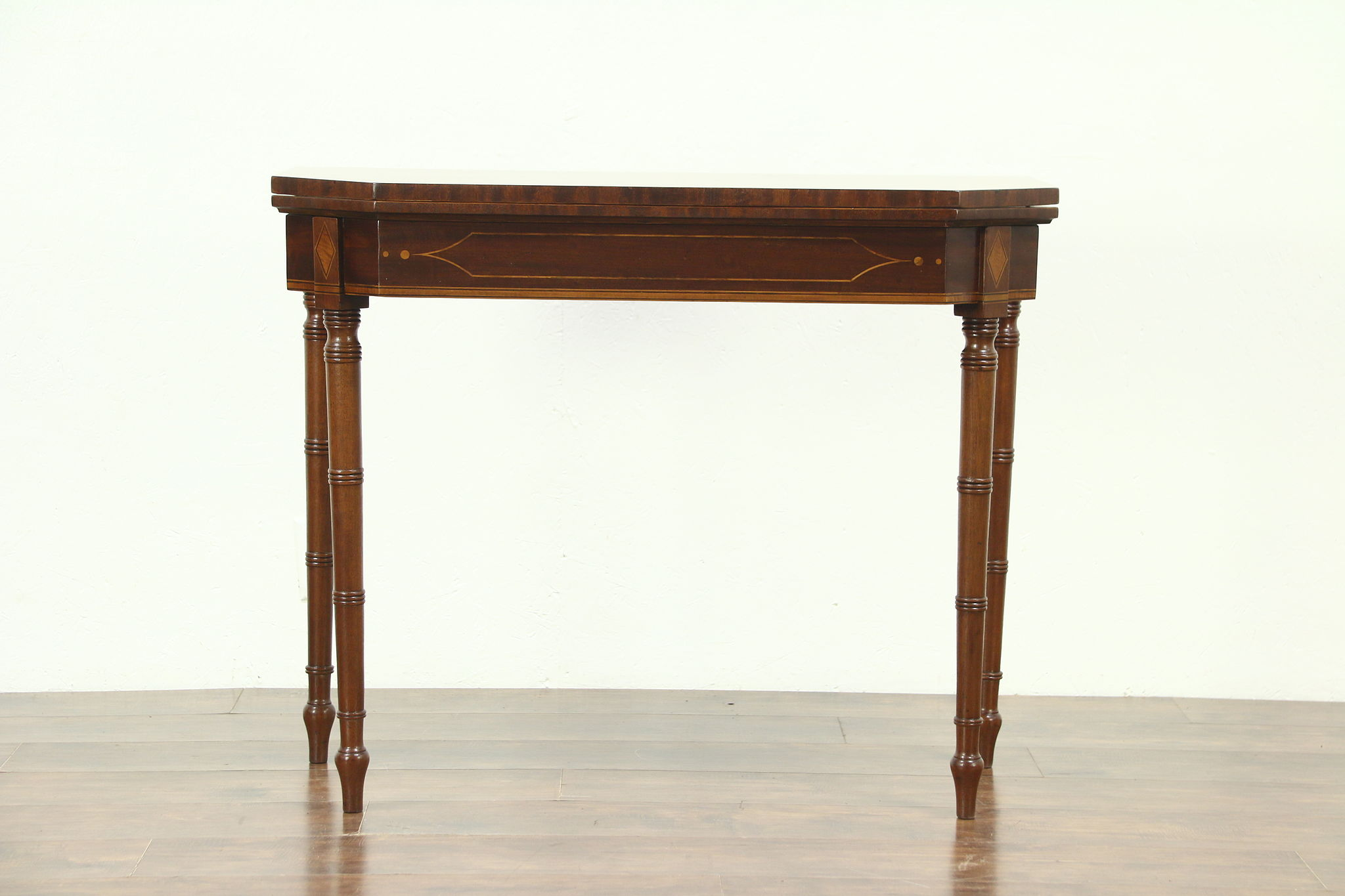 Gentil Console Table Opens To Game Table, Antique Mahogany Inlaid Banding, ...