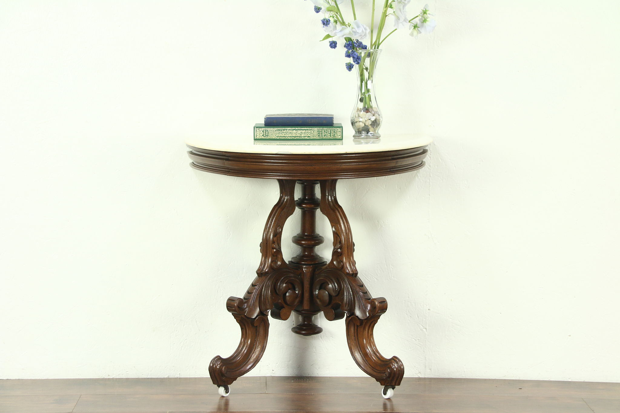 Victorian 1860 Antique Half Round Demilune Hall Console Table, Marble Top  ...
