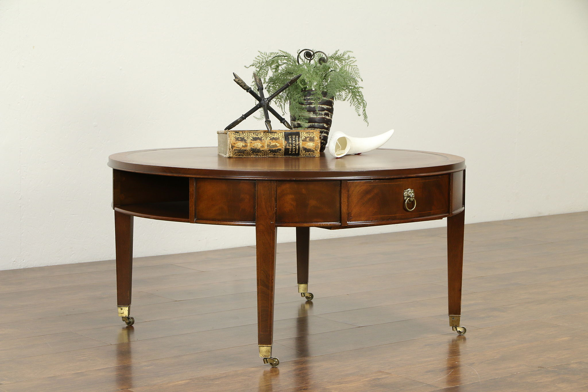 - SOLD - Traditional Vintage Drum Coffee Table, Tooled Leather Top