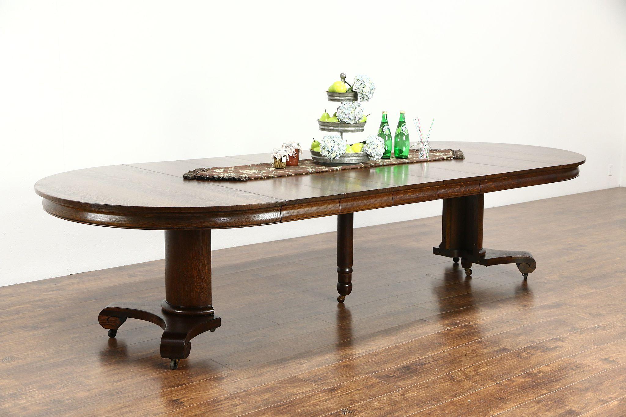 "SOLD Round 54"" Quarter Sawn Oak 1900 Antique Pedestal Dining"