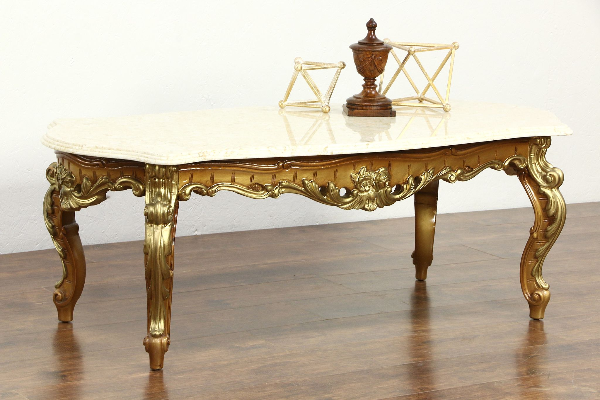 Sold Carved Gold Bronze Finish Vintage Coffee Table Marble Top Harp Gallery Antique Furniture