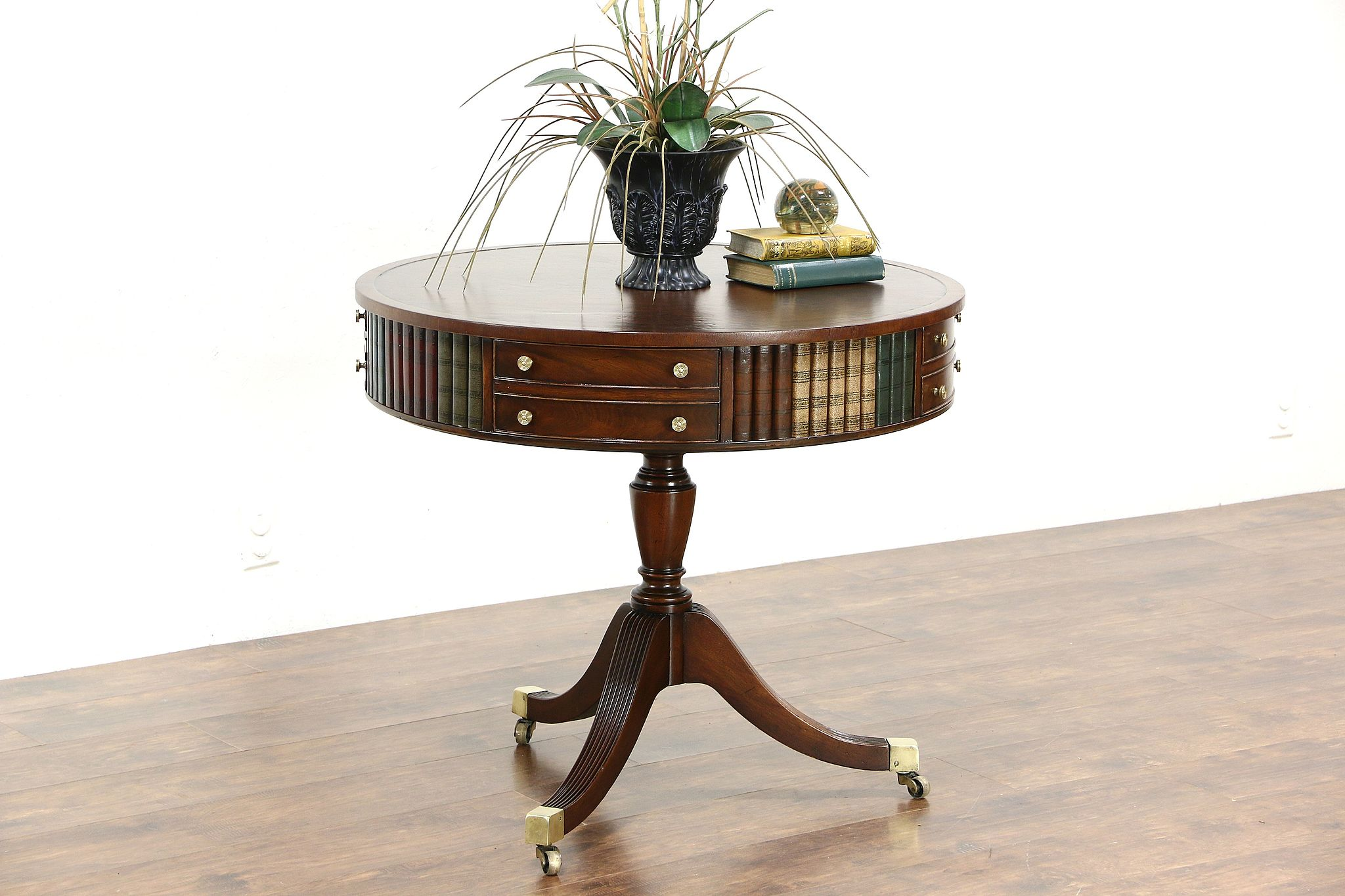 Round Drum Or Vintage Revolving Hall Table Leather Books Top