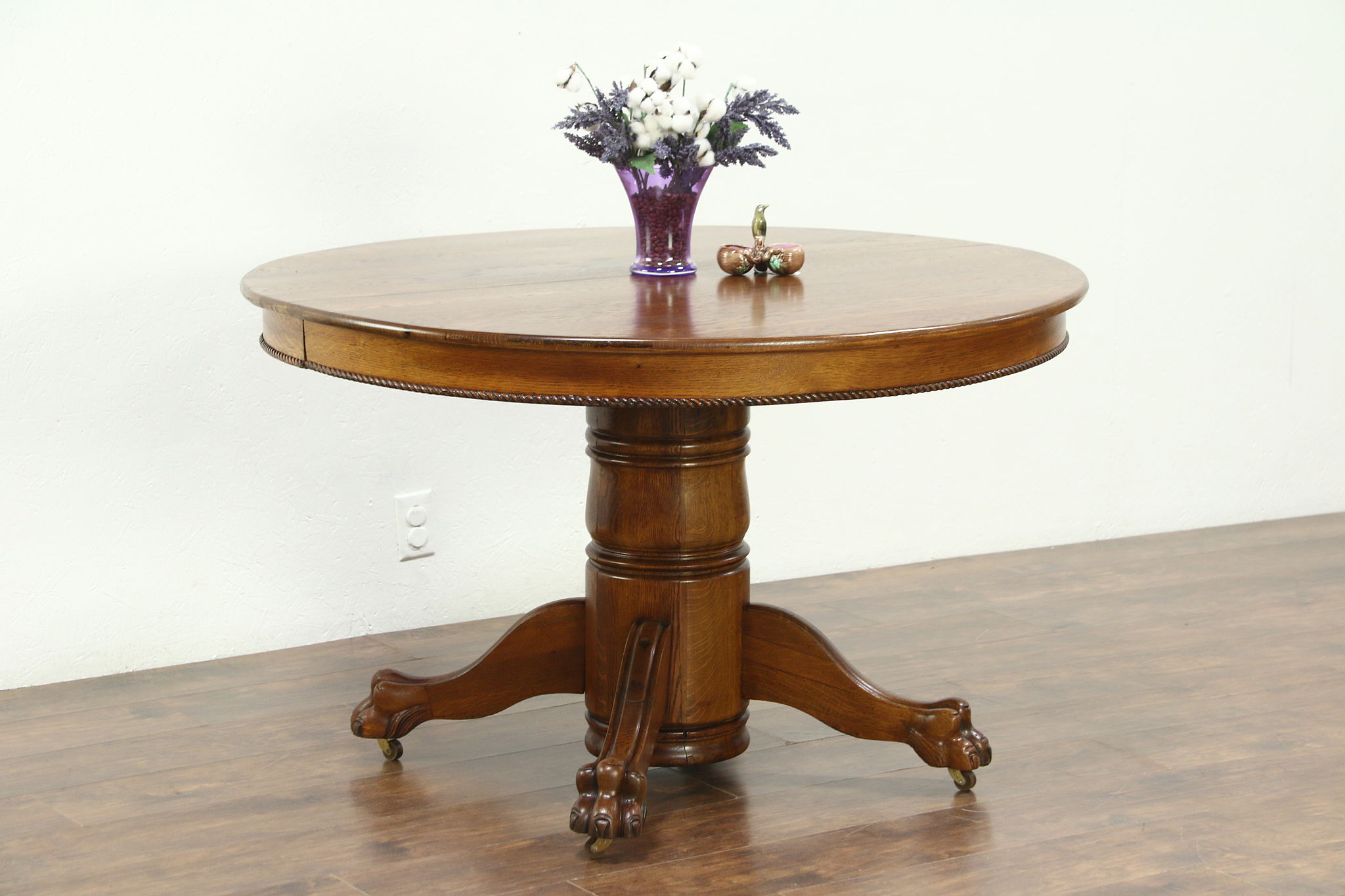 Round Oak 48 Antique 1900 Dining Table 2 Leaves Lion Paw Feet Photo