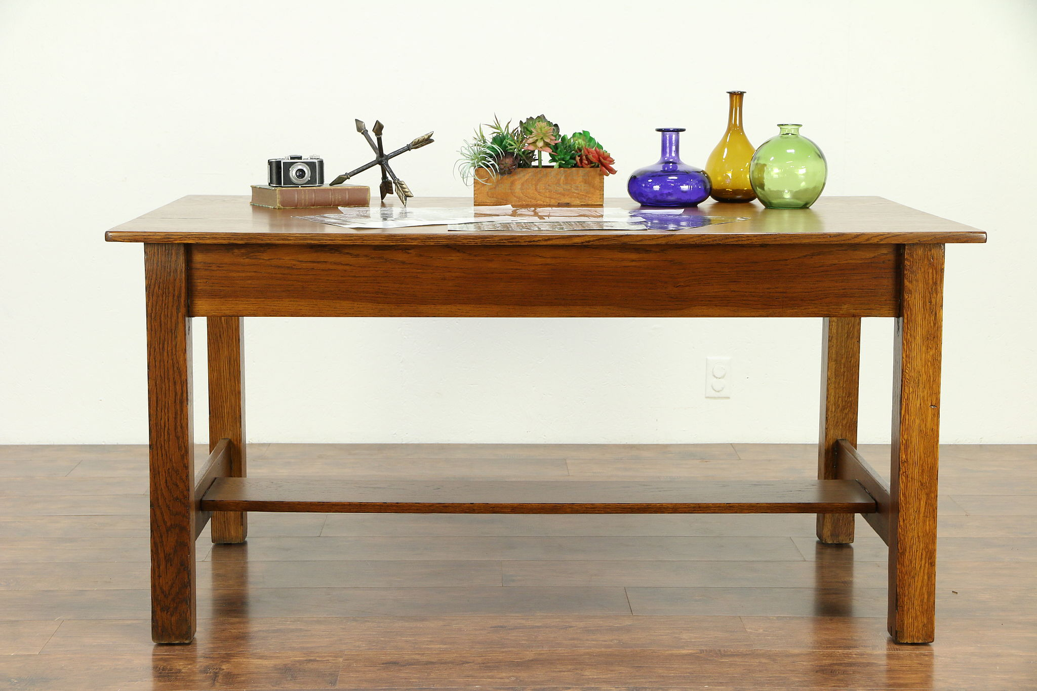 Mission Oak Arts Crafts Antique Craftsman Dining Or Library Table