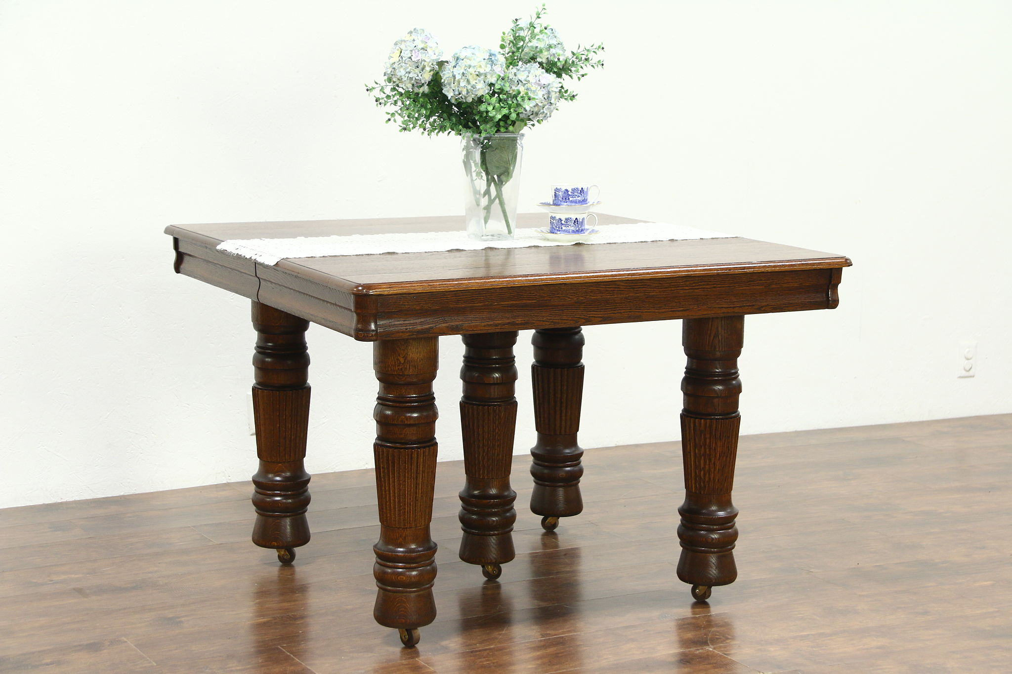 Solid Oak Square Antique 5 Leg Dining Table 6 Leaves Extends 10 8