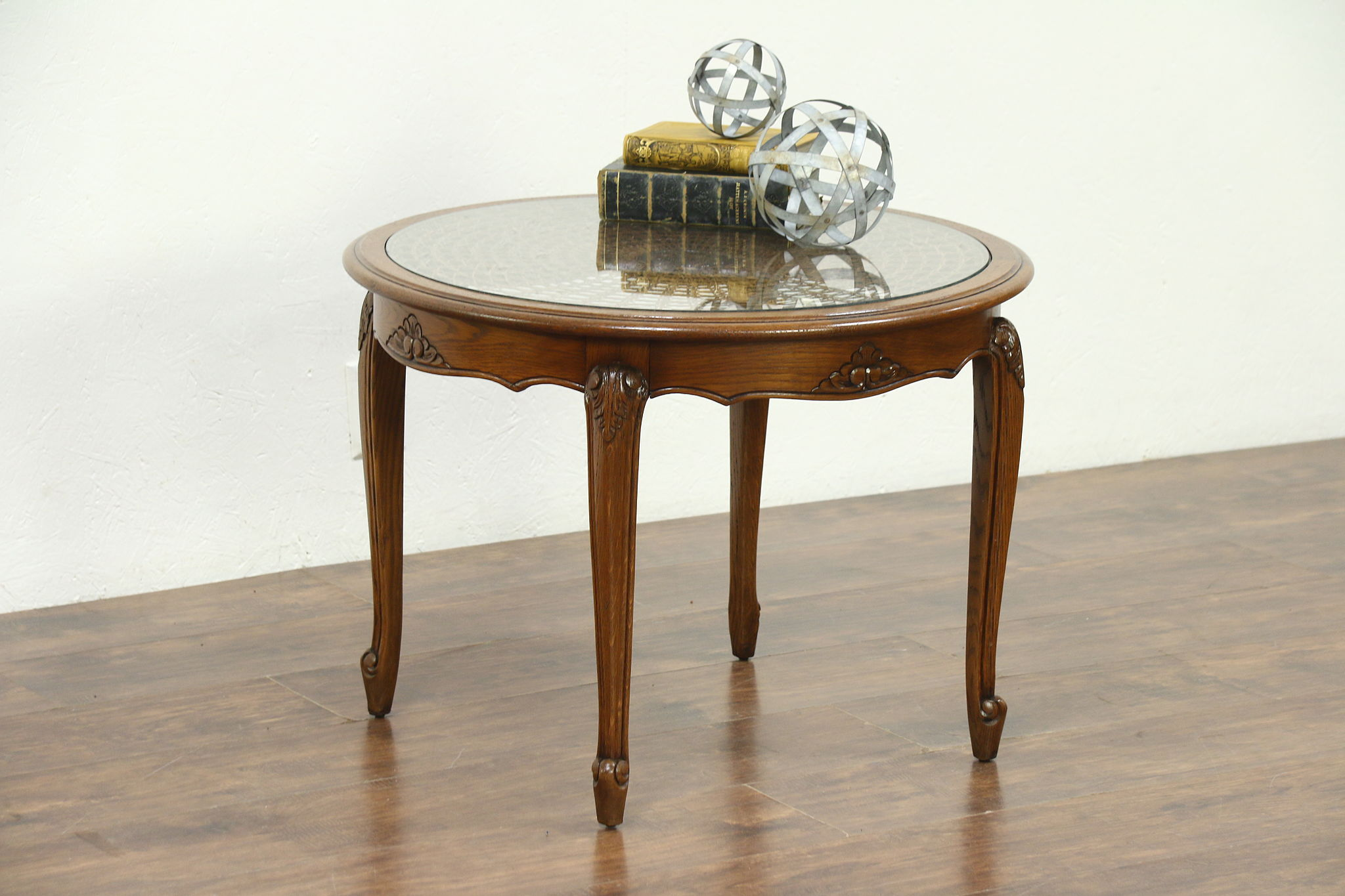 Merveilleux Oak Carved Round Vintage Coffee Table, Cane U0026 Glass Top, ...