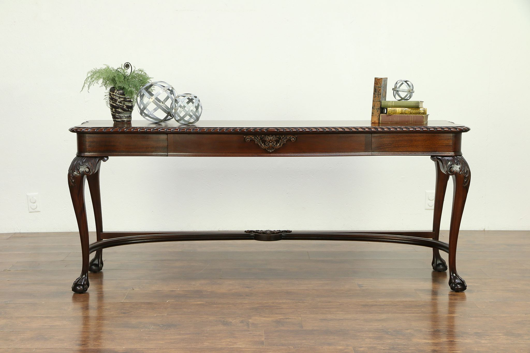 Sold Georgian Mahogany Antique Hall Console Or Sofa Table Carved Claw Feet 30675 Harp Gallery