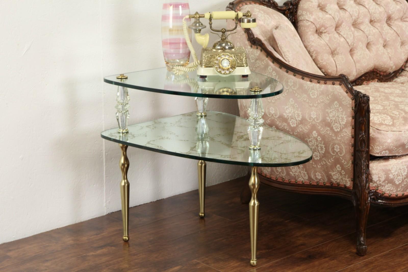 Hollywood Regency Glass Mirror 1960 Vintage Triangular Lamp Table