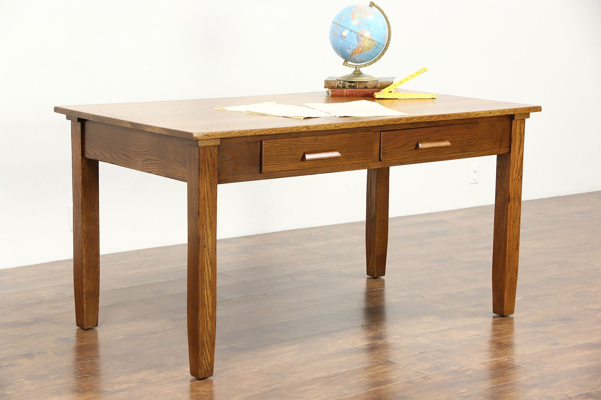 Oak 1915 Antique 5 Craftsman Library Table or Writing Desk 2