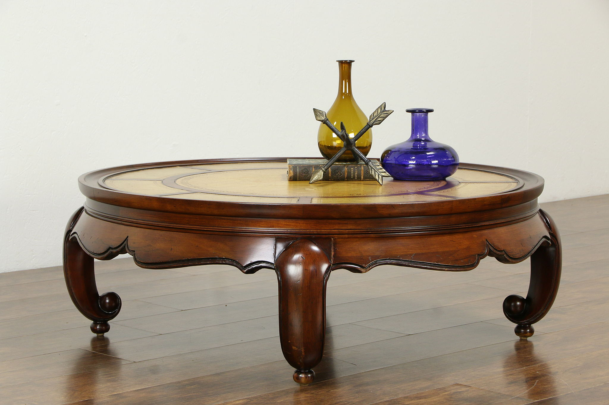 - Round Vintage Cherry Coffee Table, Tooled Leather Top #33317