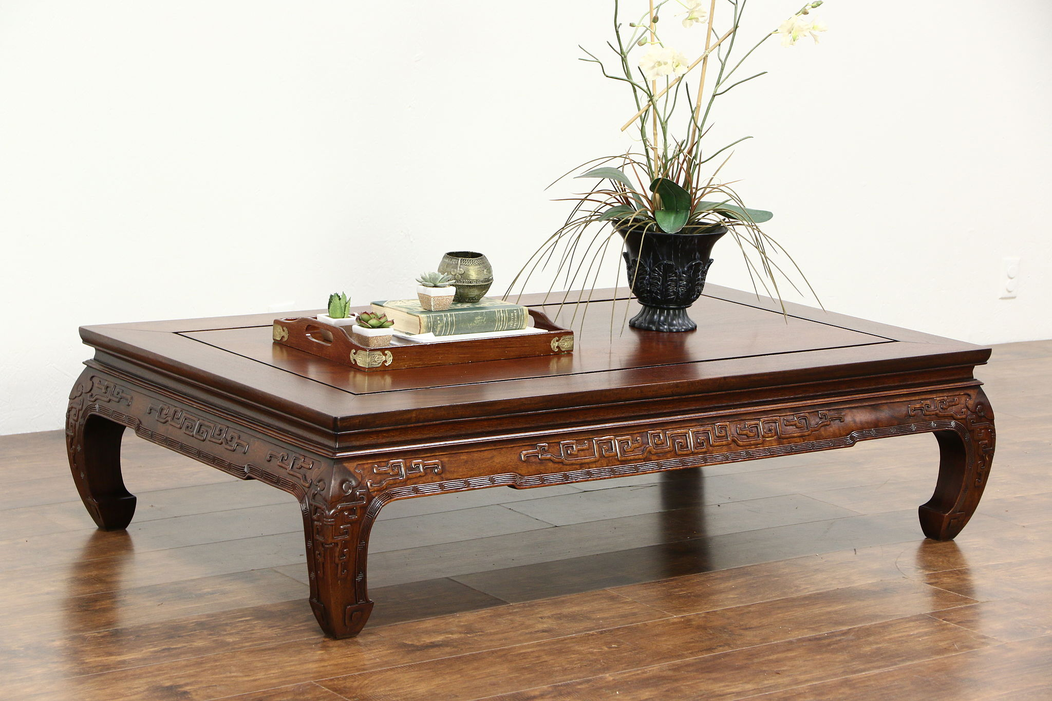 SOLD Traditional Chinese Carved Rosewood Vintage Dining Table or