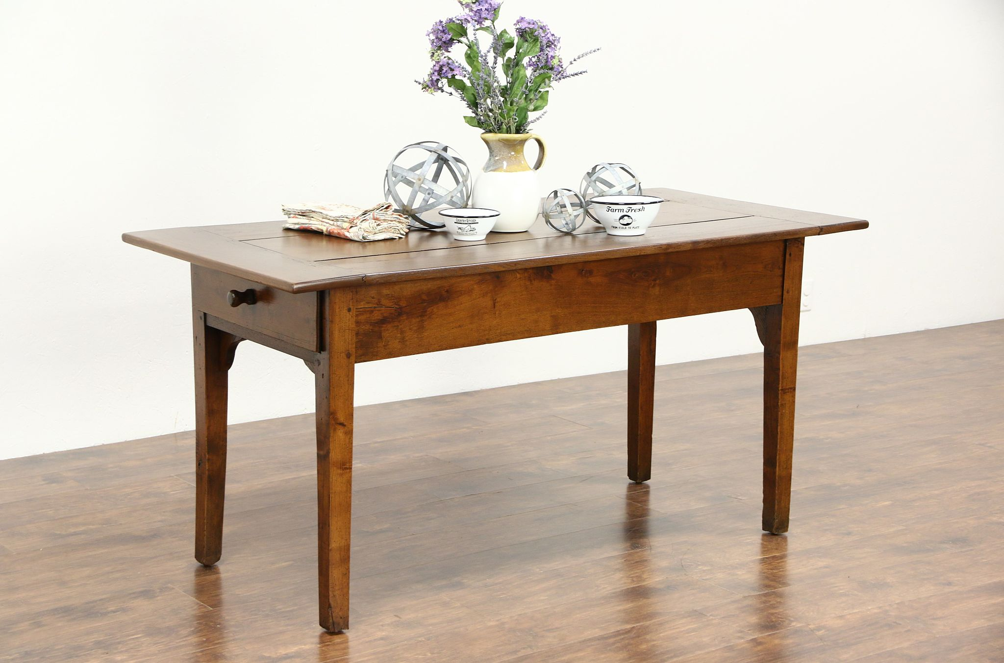 SOLD - Country French 1800 Antique Farmhouse Primitive Dining Table ...