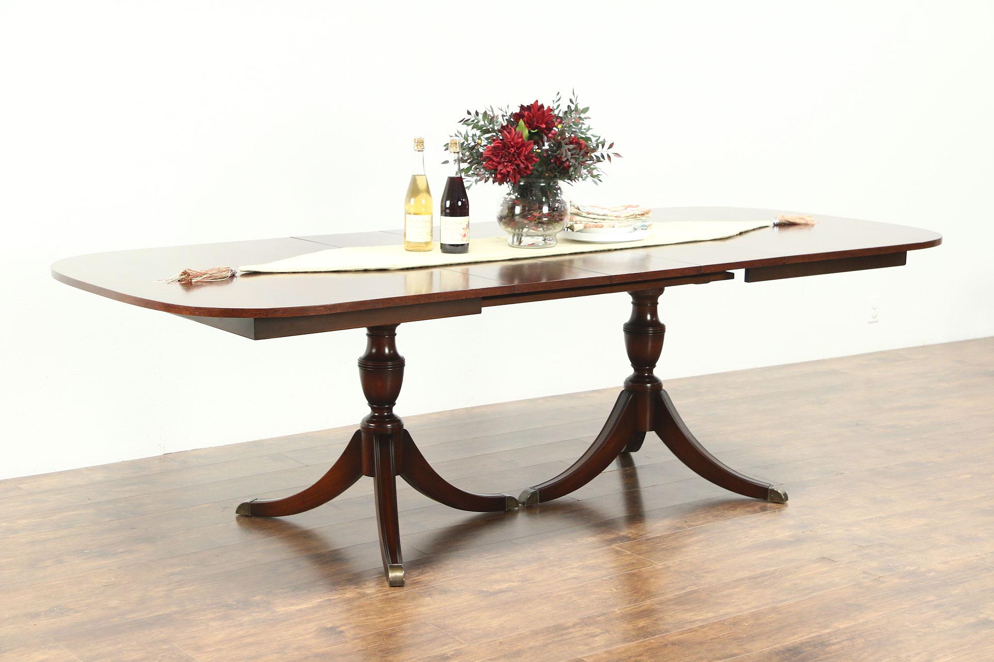 Traditional Vintage Gany Dining Table 2 Pedestals 3 Leaves Landstrom