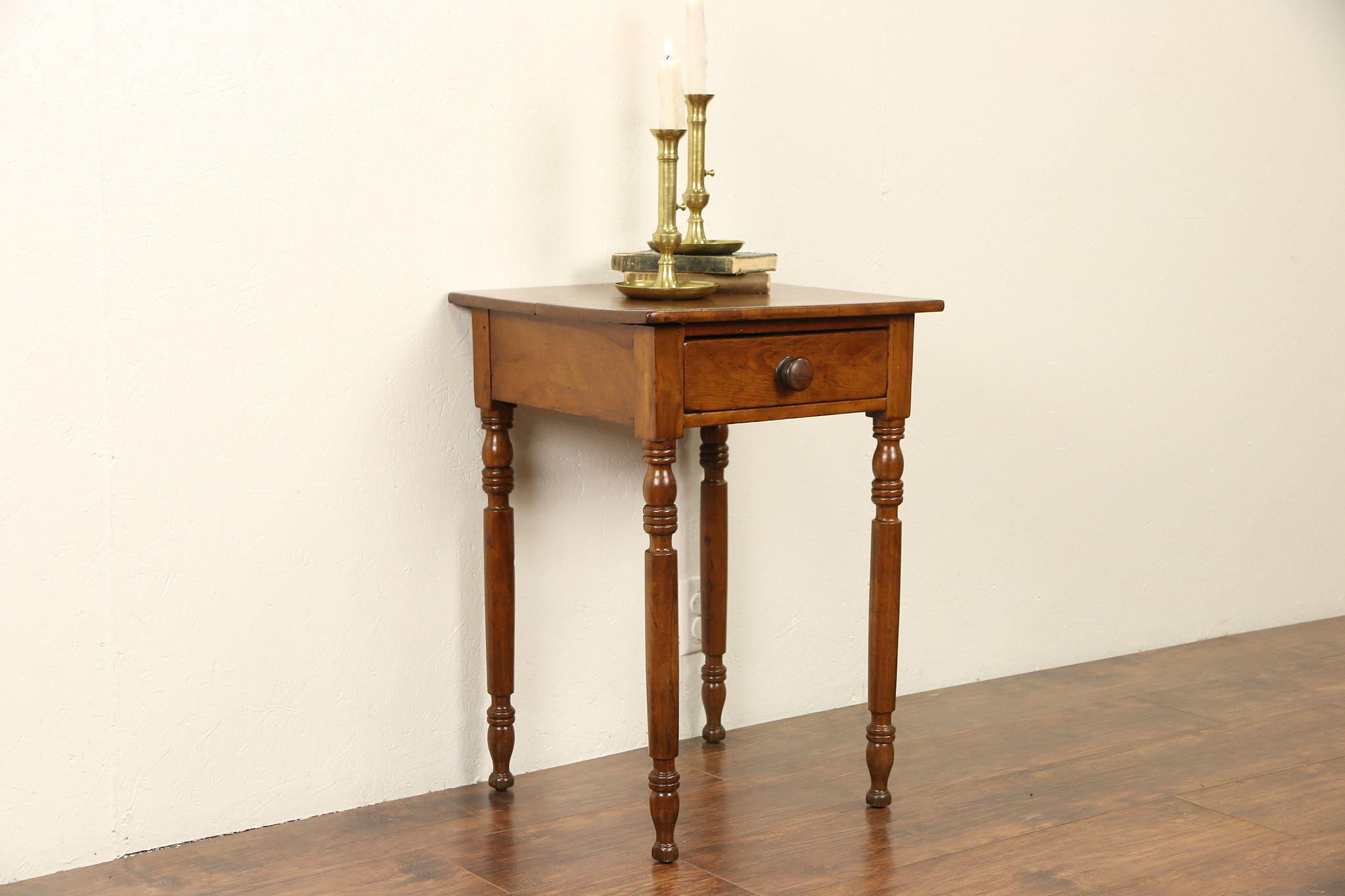 Cherry 1830 Antique Sheraton Lamp Or End Table Or Nightstand