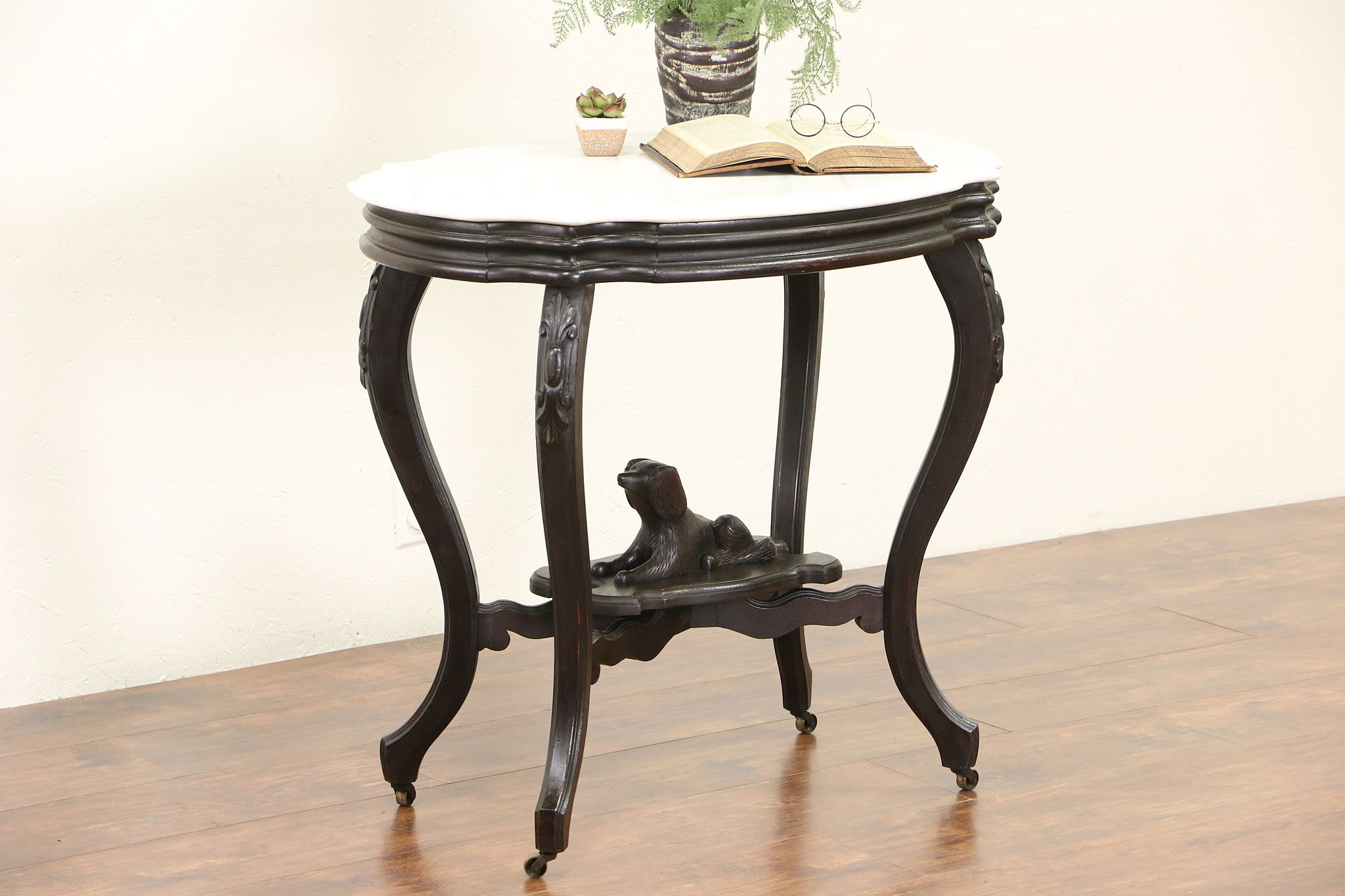 Sold victorian 1870s antique marble turtle top walnut lamp table victorian 1870s antique marble turtle top walnut lamp table dog sculpture aloadofball Images