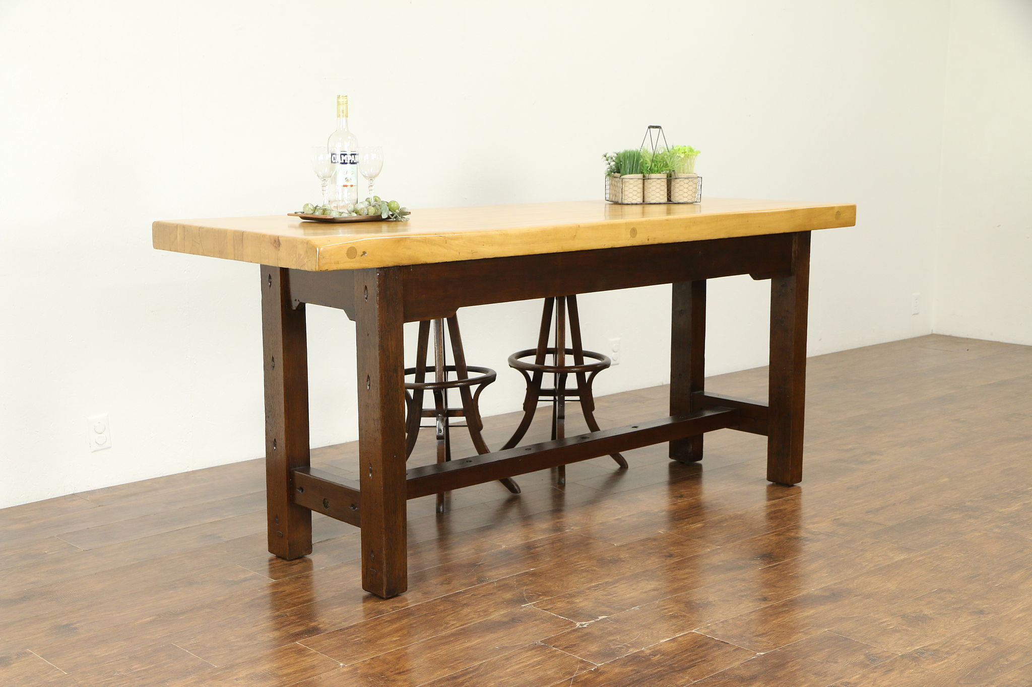 Butcher Block Kitchen Island Counter Or Stool Height Dining Table #30745 ...